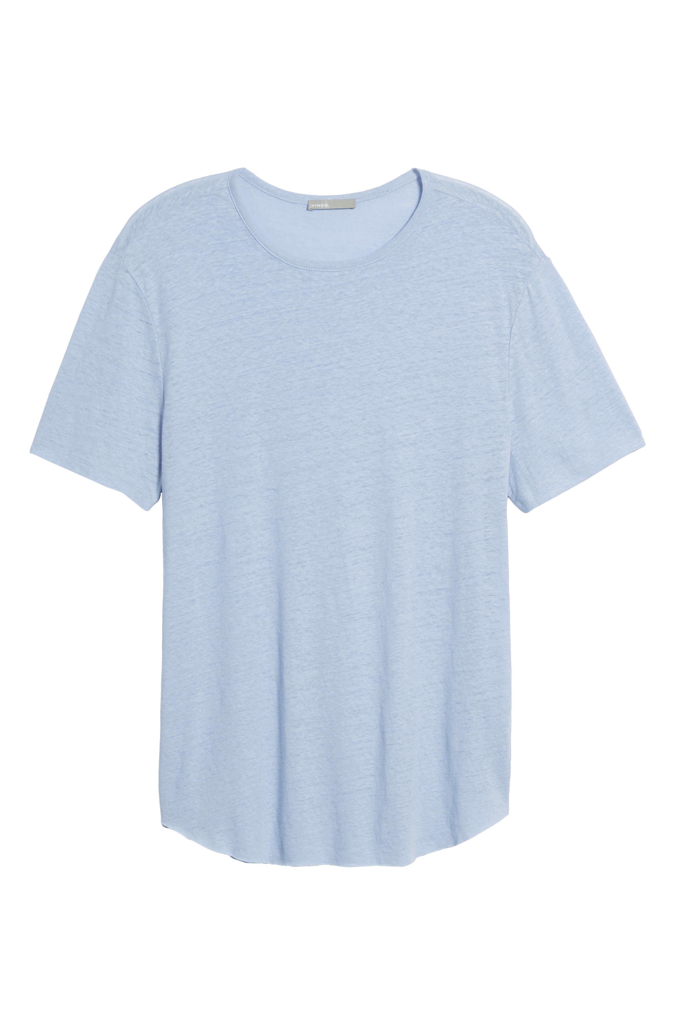 Raw Hem Linen & Cotton T-Shirt,                             Alternate thumbnail 6, color,                             Feather
