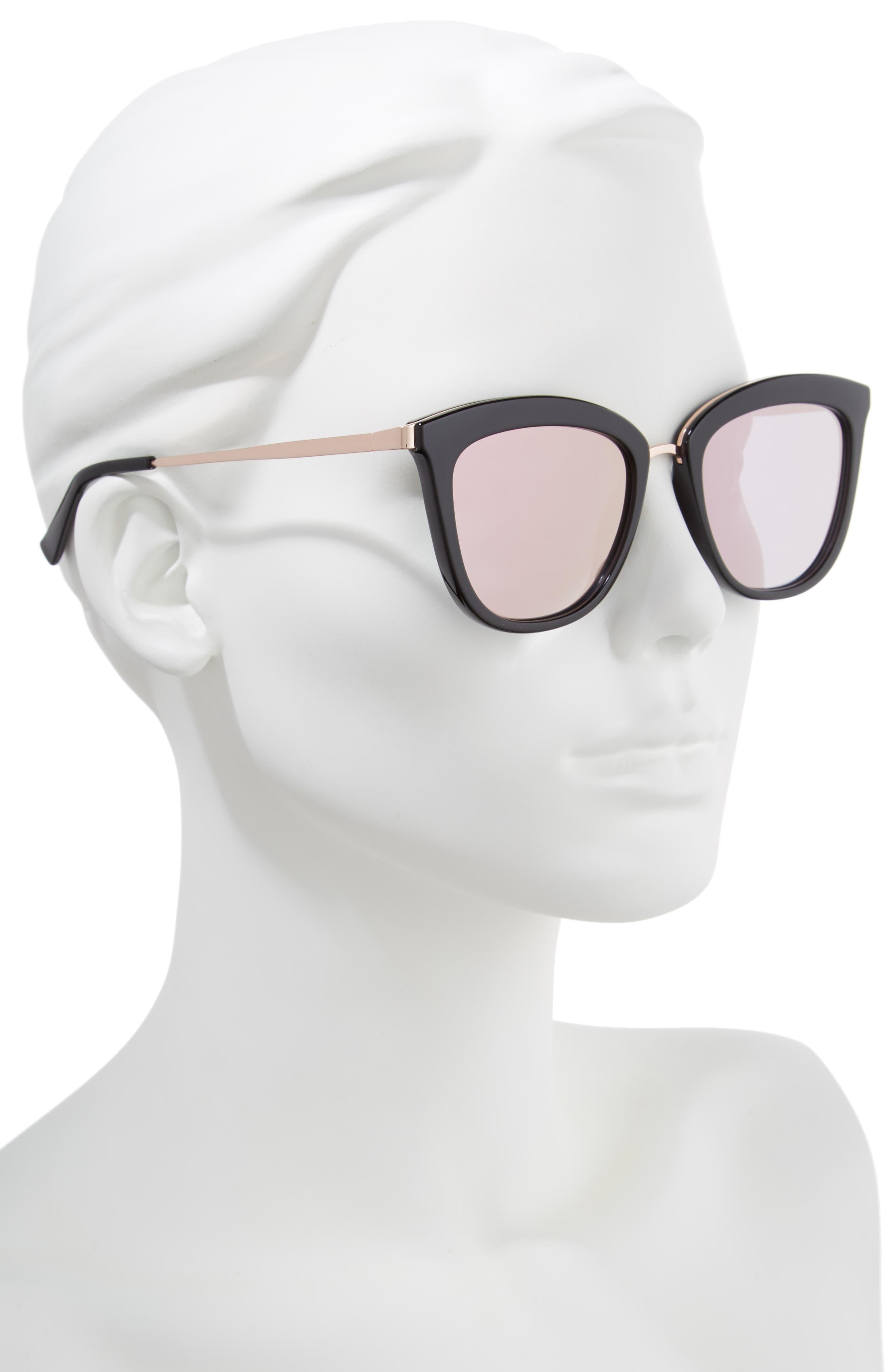 Caliente 53mm Cat Eye Sunglasses,                             Alternate thumbnail 2, color,                             Black/ Rose Gold
