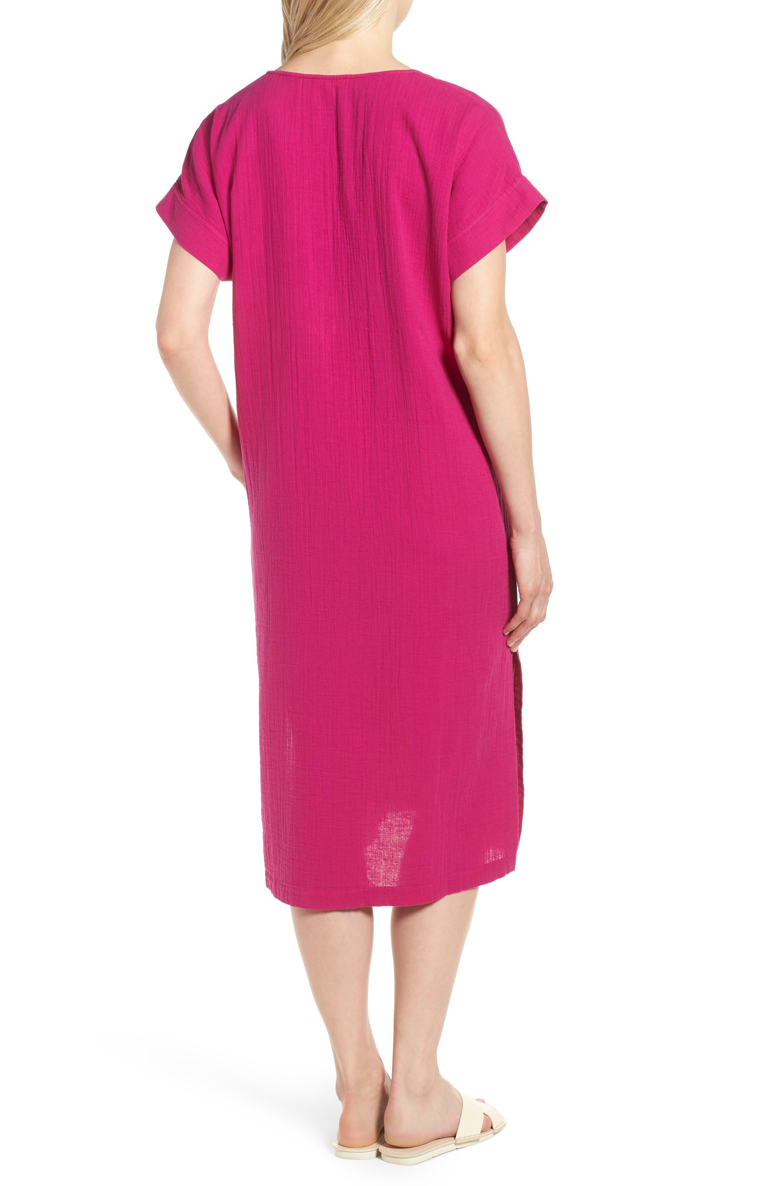V-Neck Cotton Midi Dress,                             Alternate thumbnail 2, color,                             Cerise