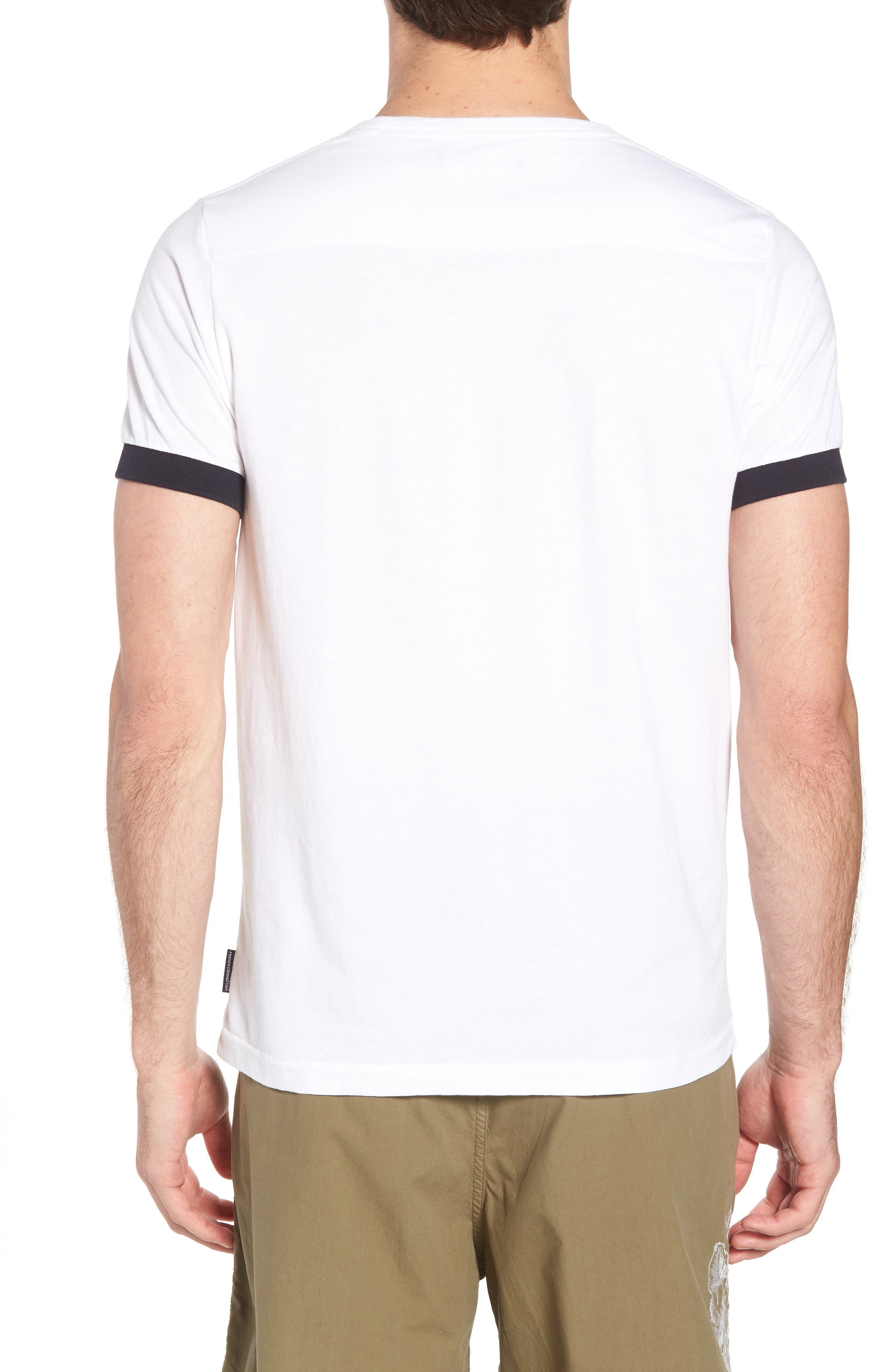 Summer Contrast Cuff T-Shirt,                             Alternate thumbnail 2, color,                             White Marine Blue