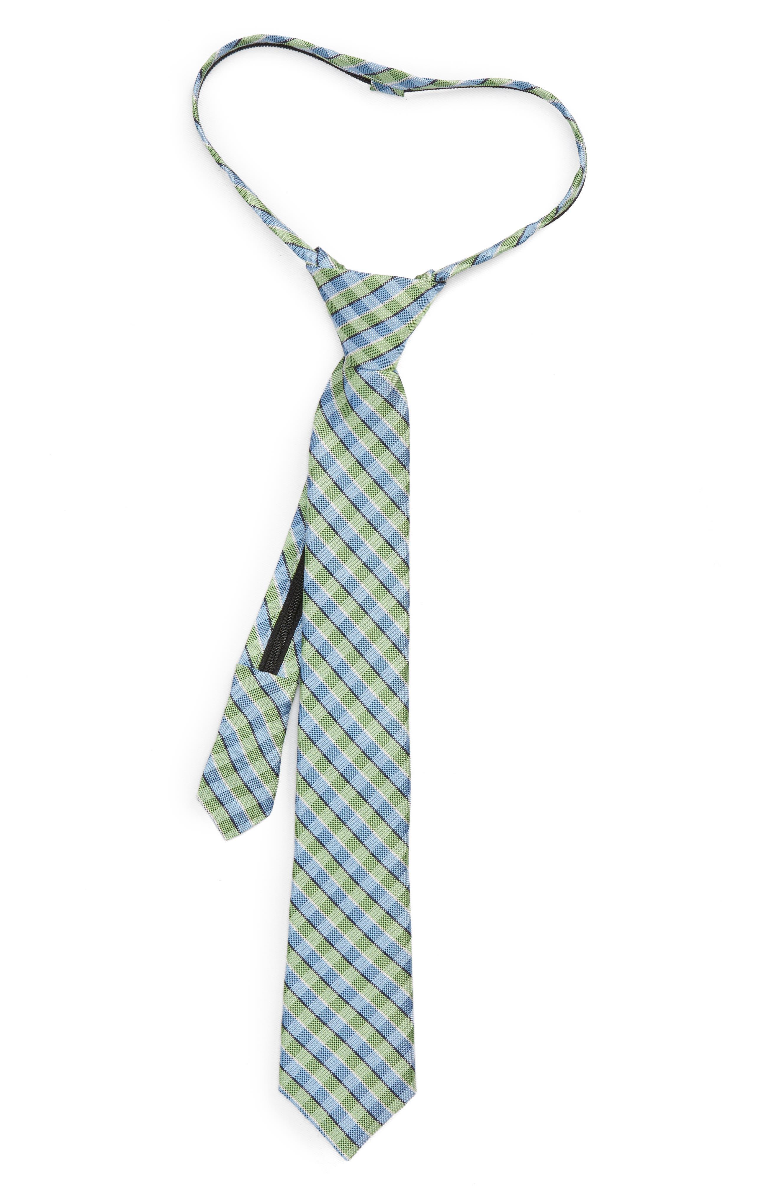Nordstrom Circus Check Silk Zip Tie (Big Boys)