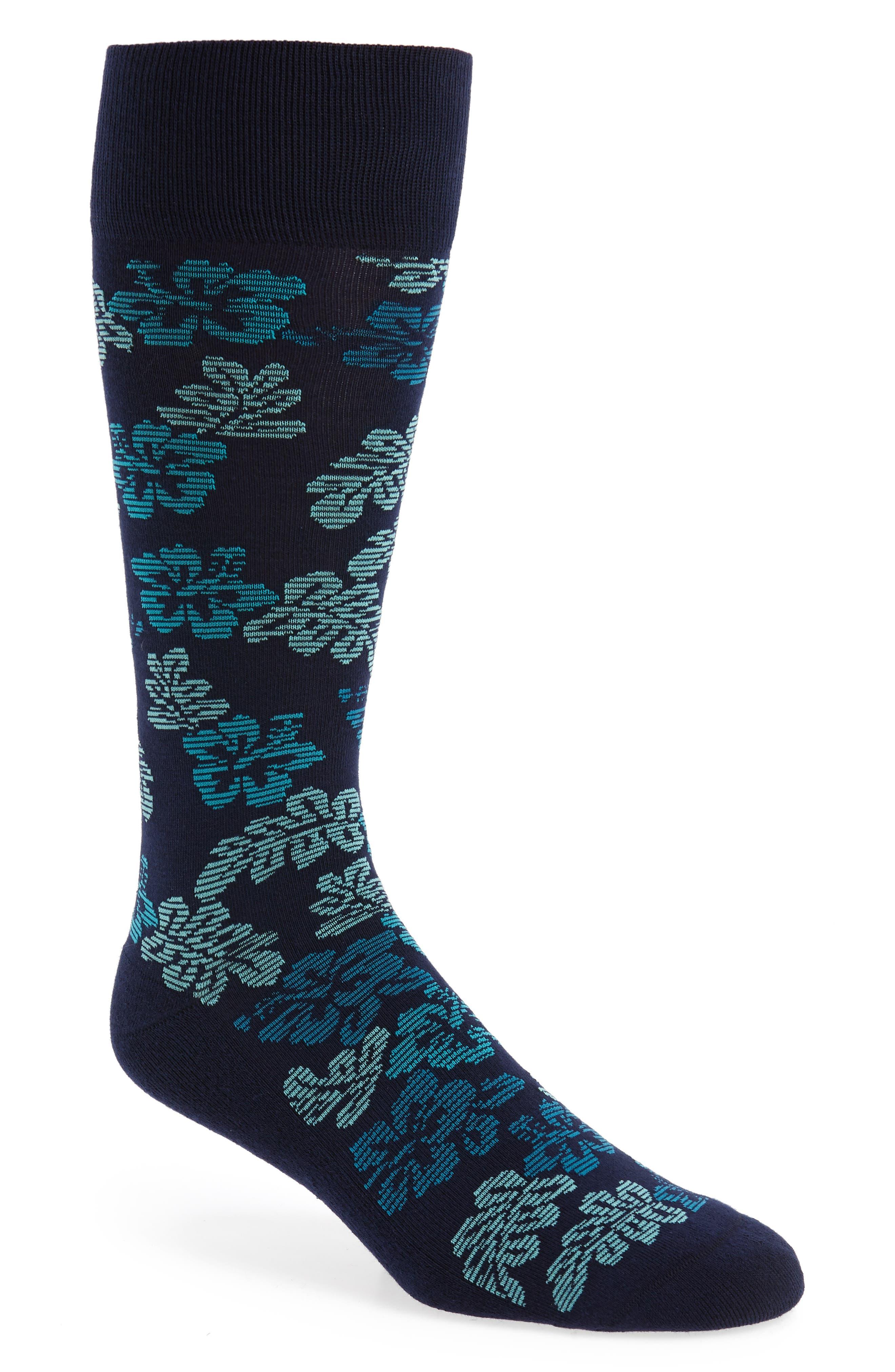 Hibiscus Vibe Socks,                             Main thumbnail 1, color,                             Navy/ Teal