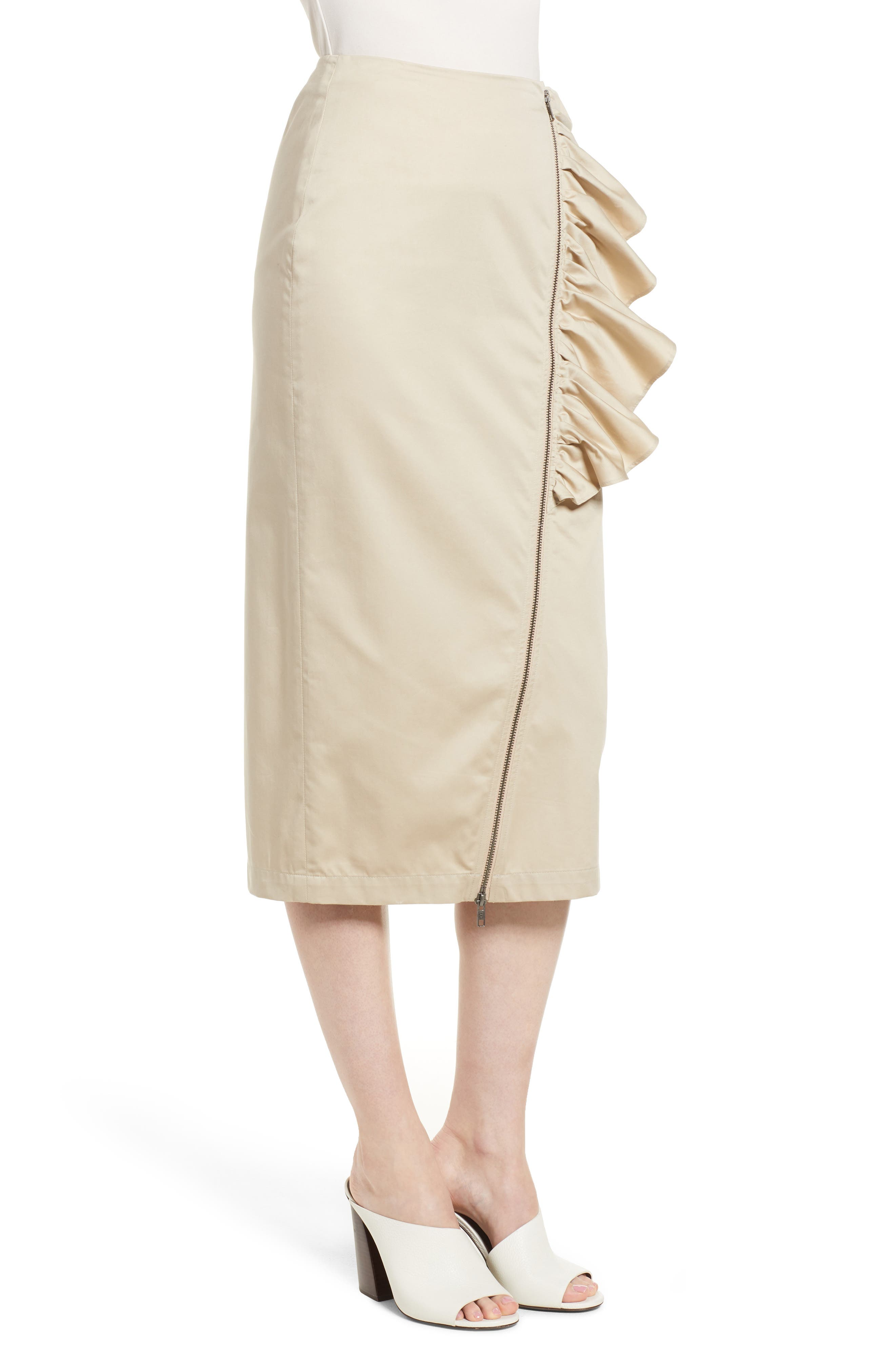 Asymmetrical Zip Ruffle Midi Skirt,                             Alternate thumbnail 3, color,                             Tan Oxford