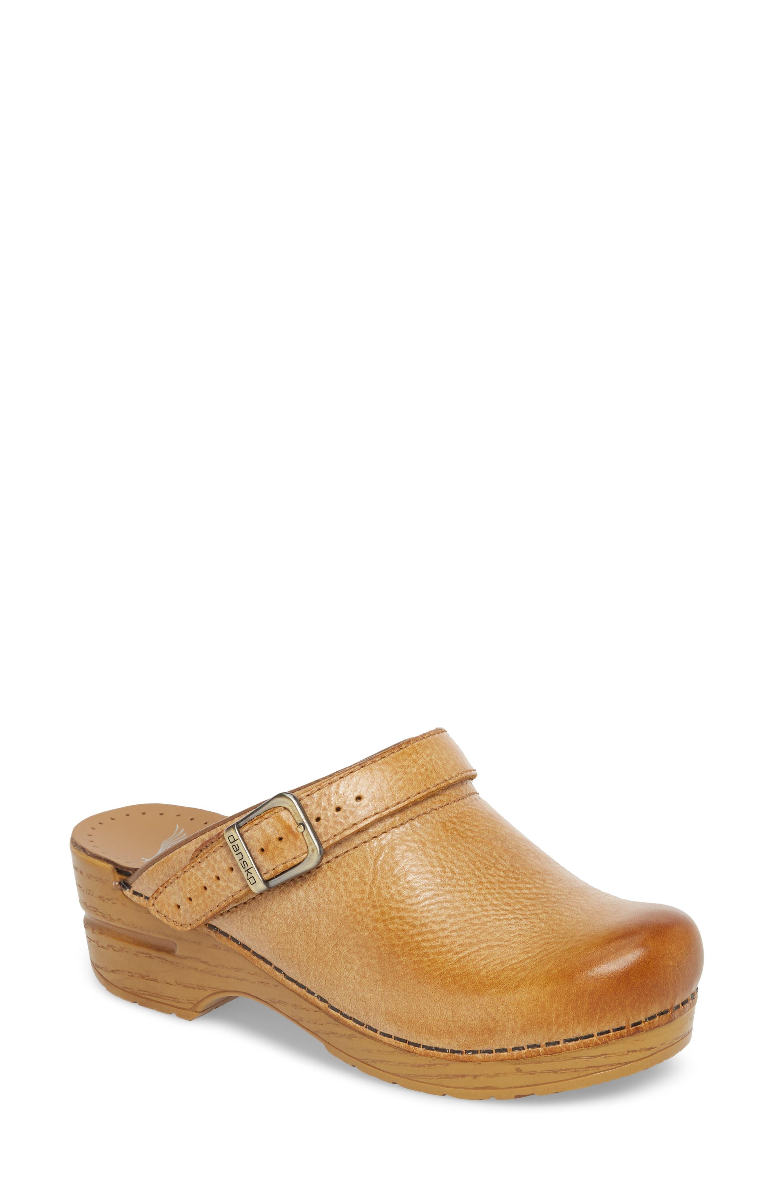 Ingrid Clog,                         Main,                         color, Honey Distressed Leather