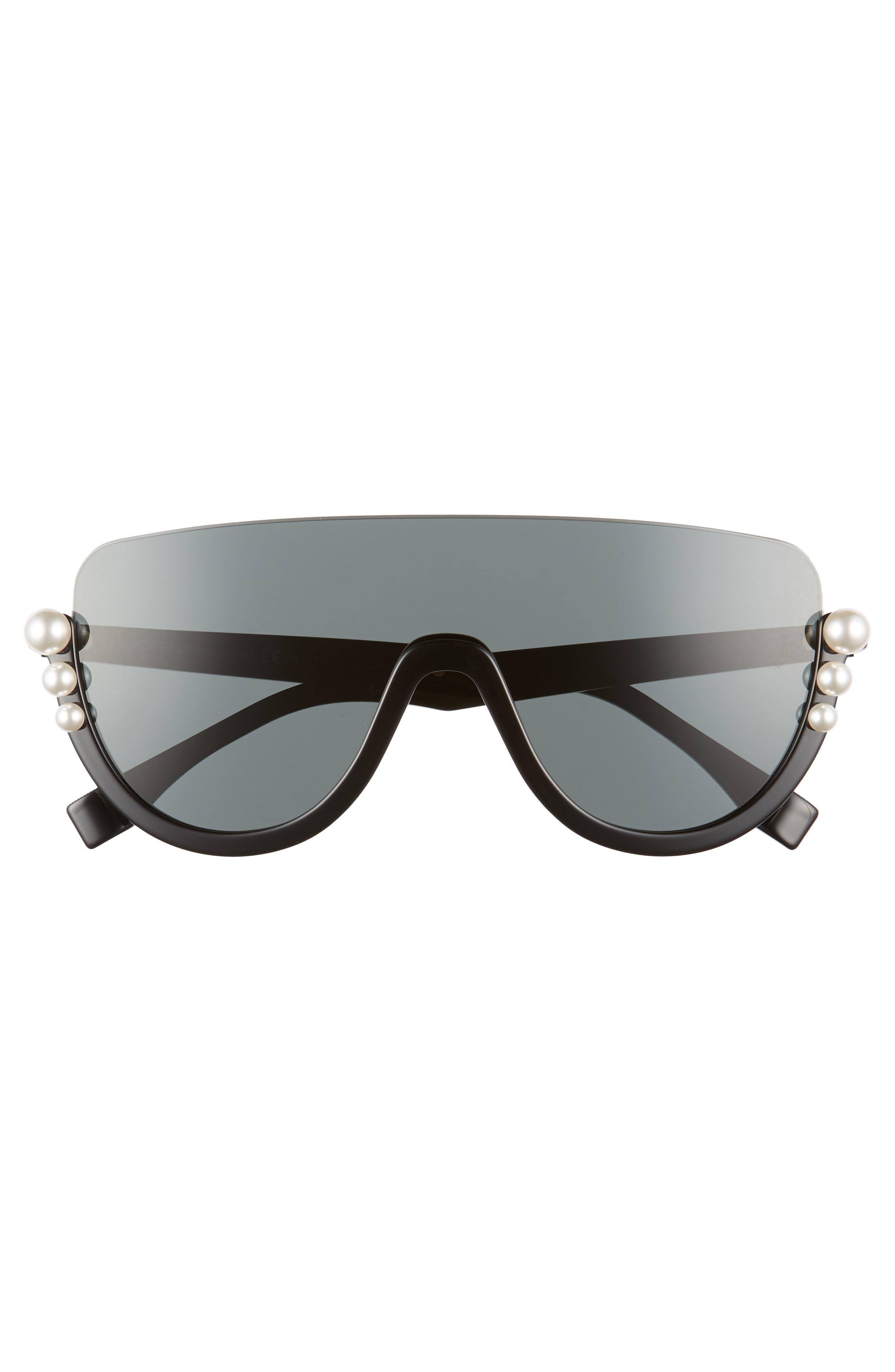 57mm Polarized Rimless Shield Sunglasses,                             Alternate thumbnail 3, color,                             Black