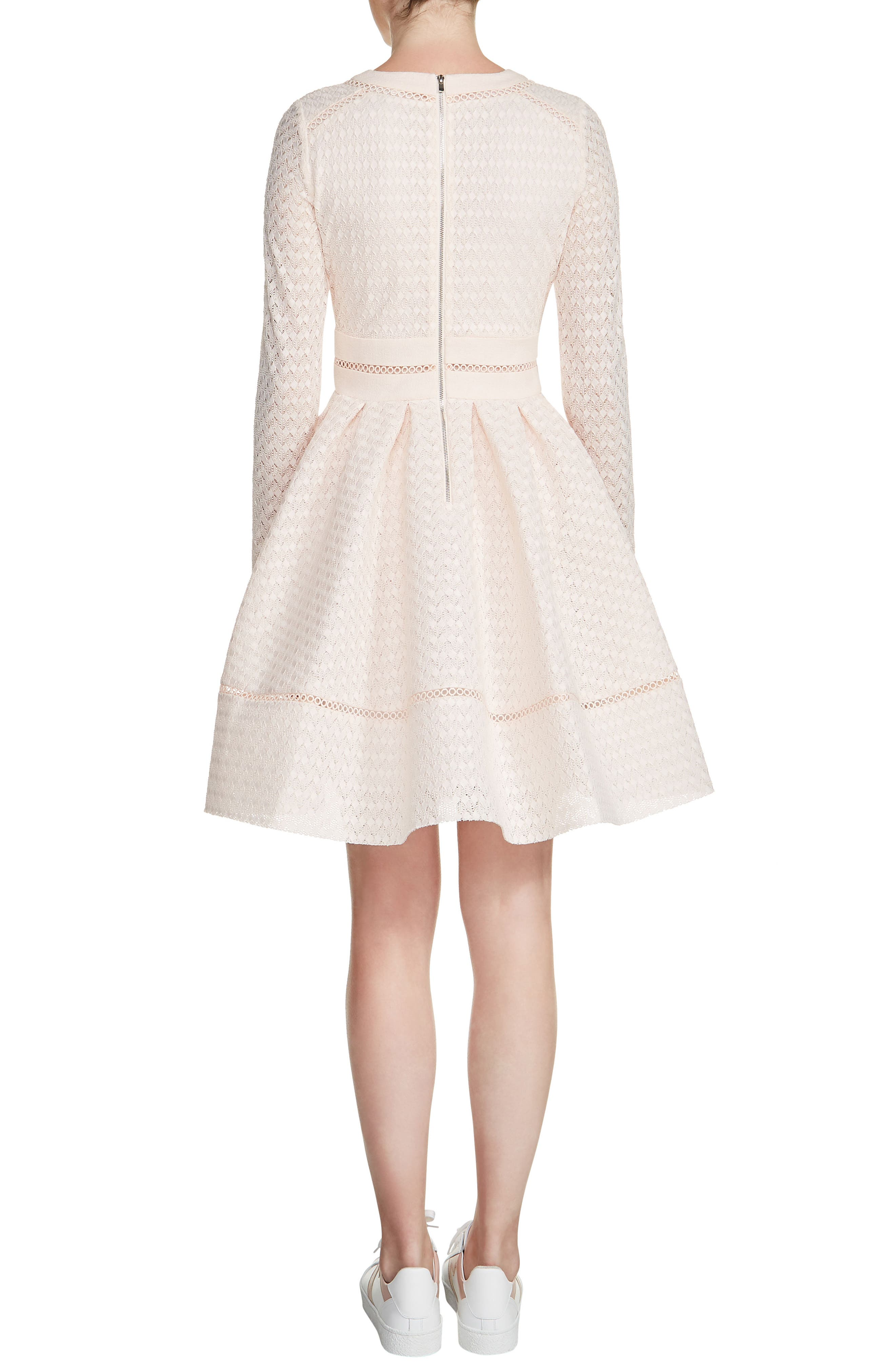 Pointelle Fit & Flare Dress,                             Alternate thumbnail 2, color,                             Nude