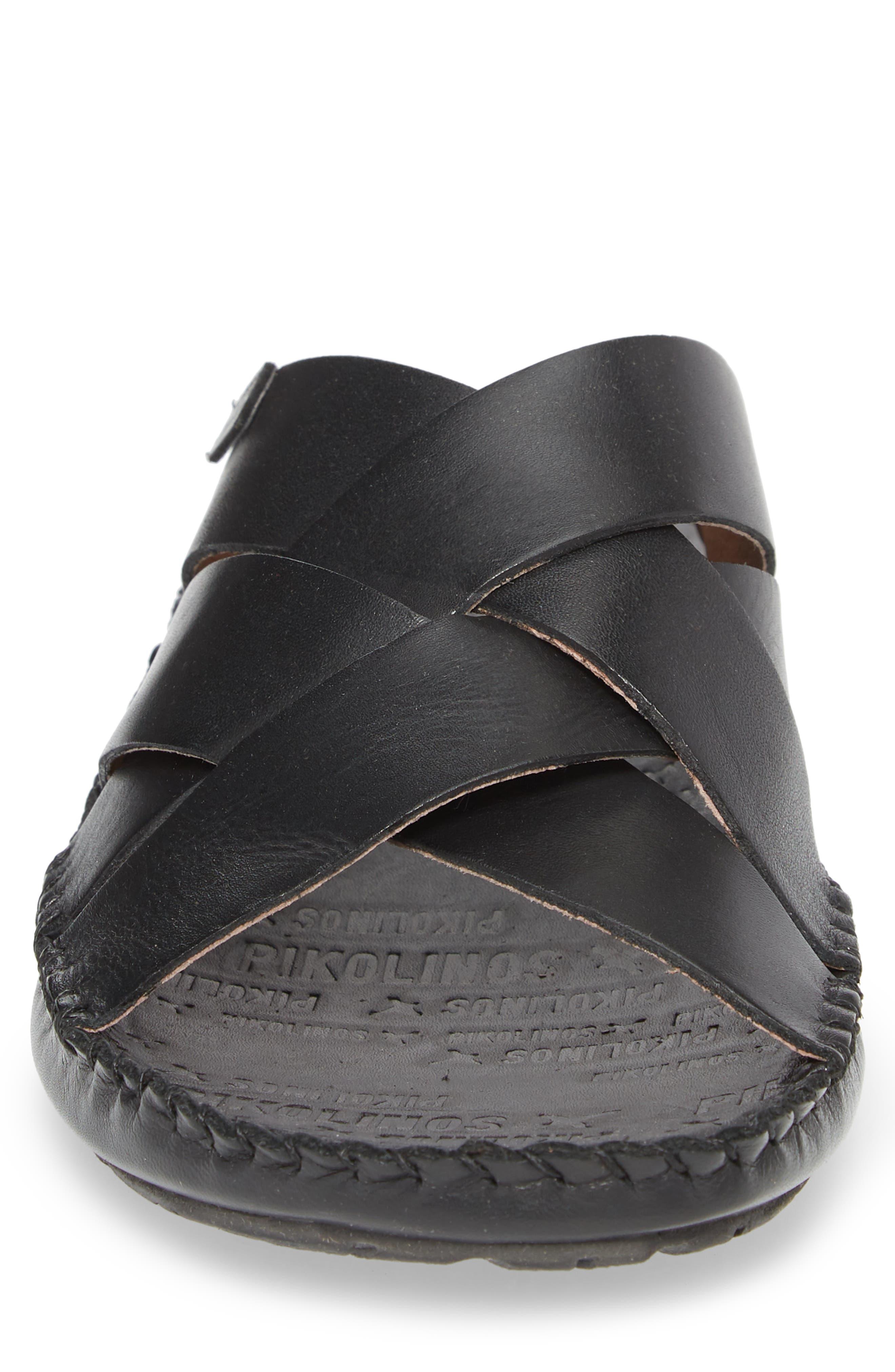'Tarifa' Slide Sandal,                             Alternate thumbnail 4, color,                             Black Leather