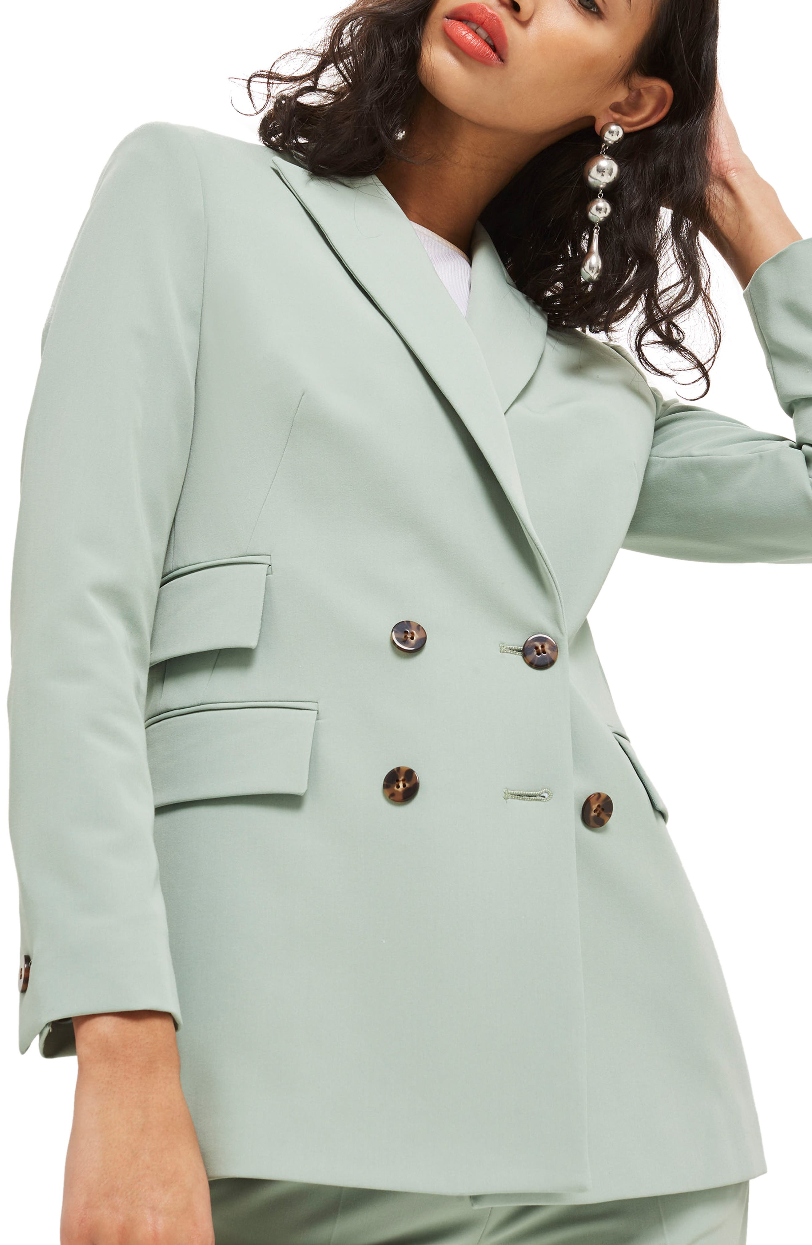 Longline Double Breasted Suit Jacket,                             Main thumbnail 1, color,                             Light Green