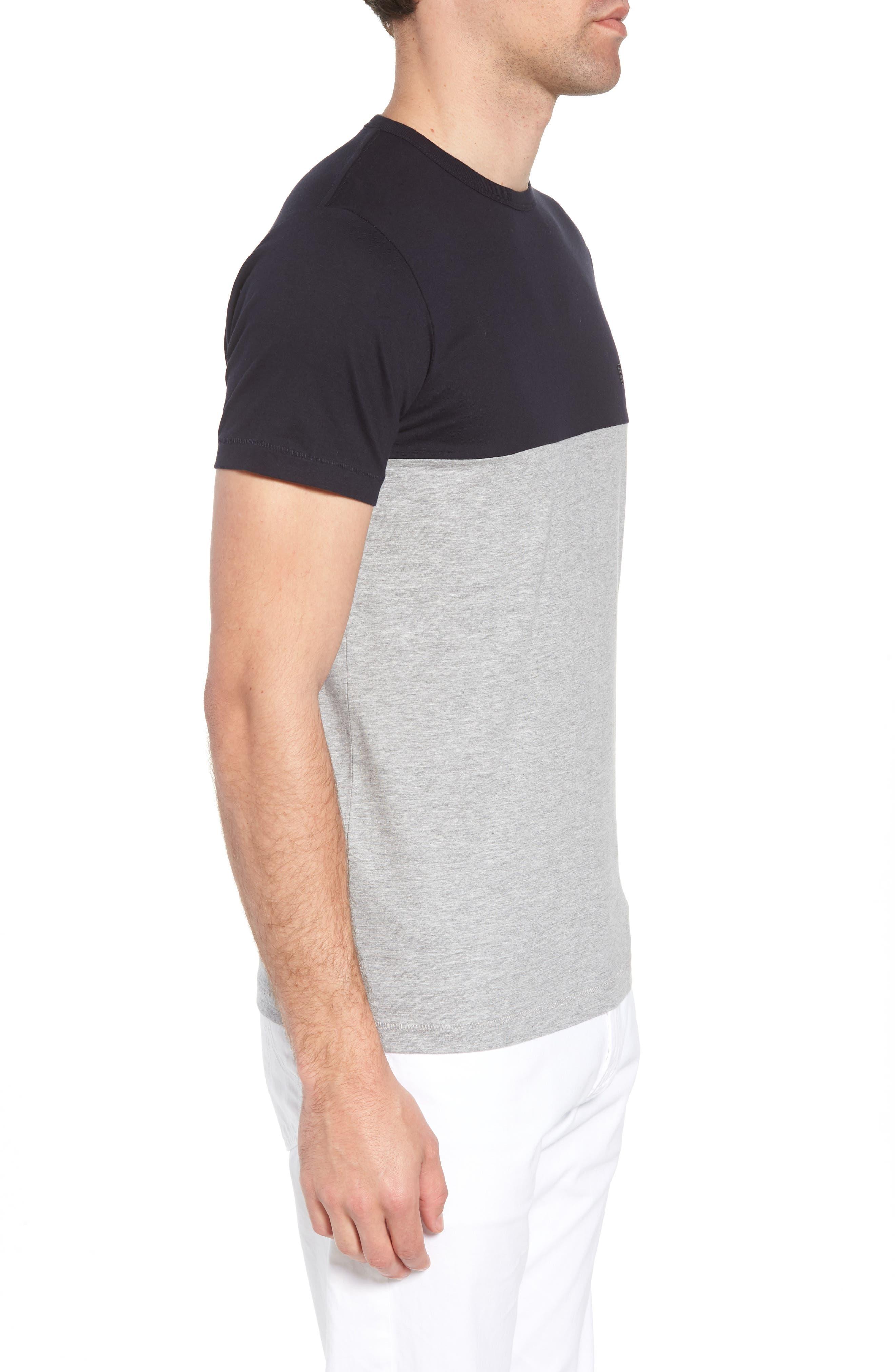 Block Crewneck T-Shirt,                             Alternate thumbnail 3, color,                             Marine Blue Light Grey