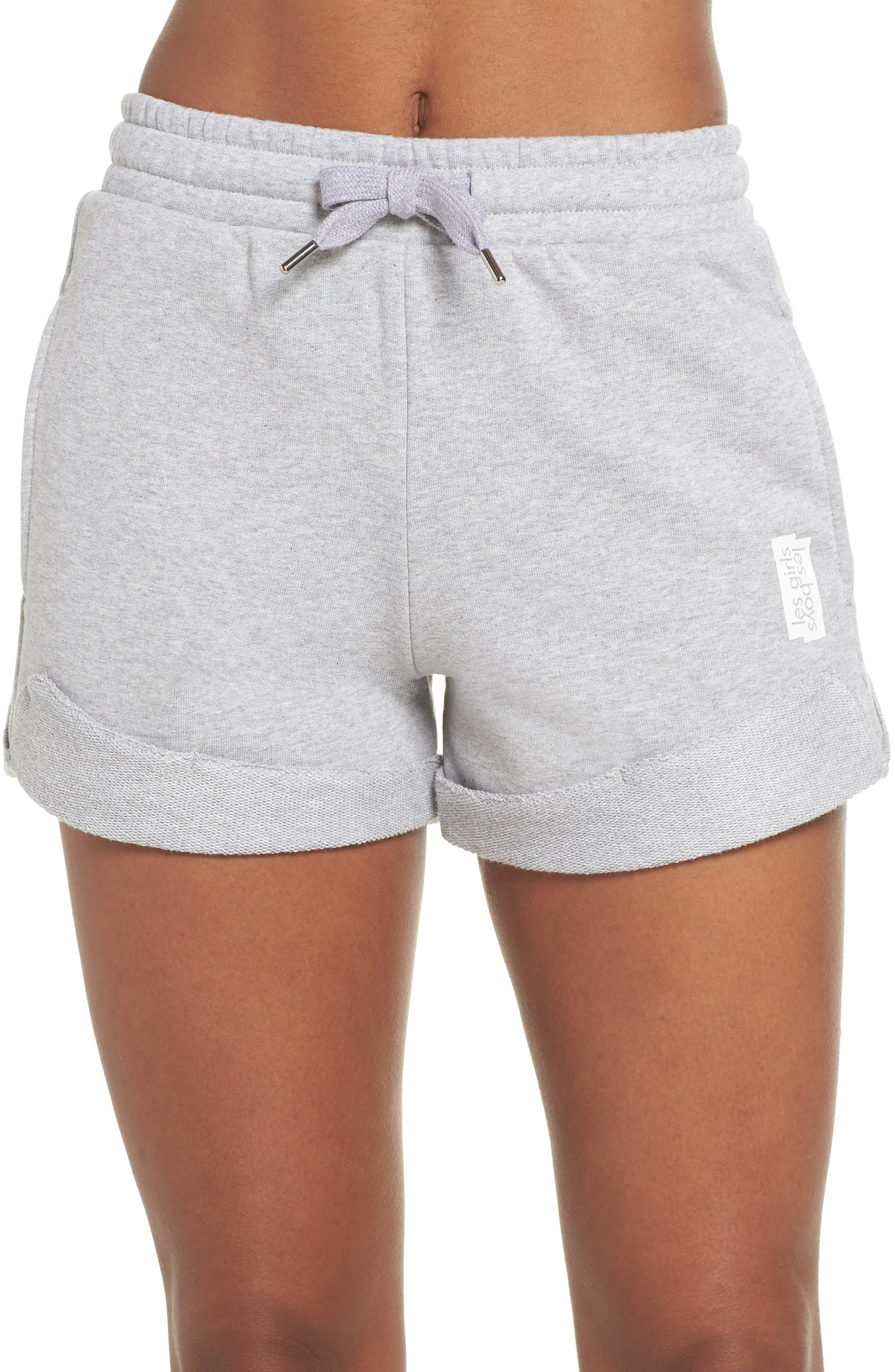 French Terry High Waist Shorts,                         Main,                         color, Light Grey Marl
