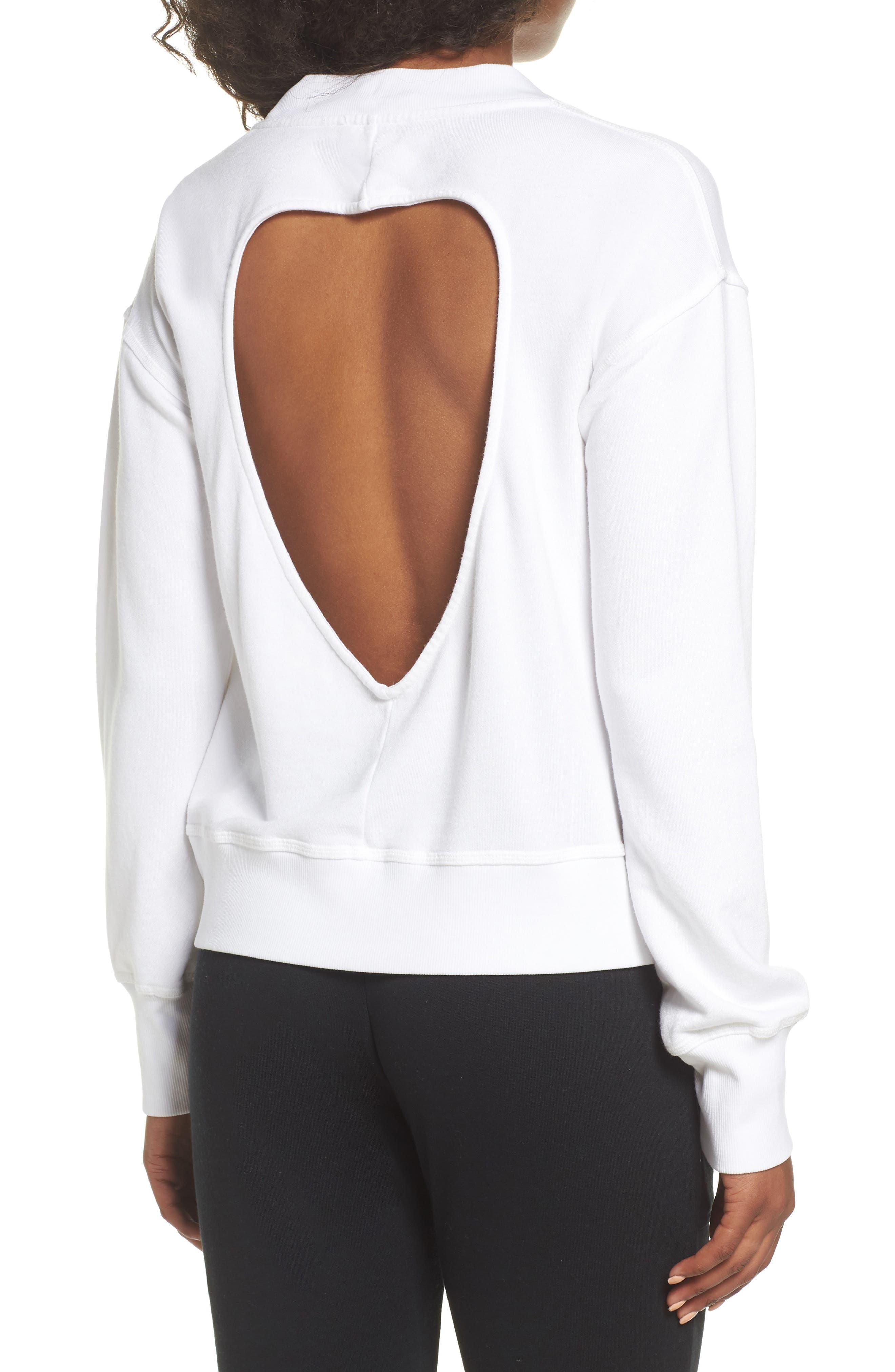 Cutout Back Sweatshirt,                             Alternate thumbnail 2, color,                             White