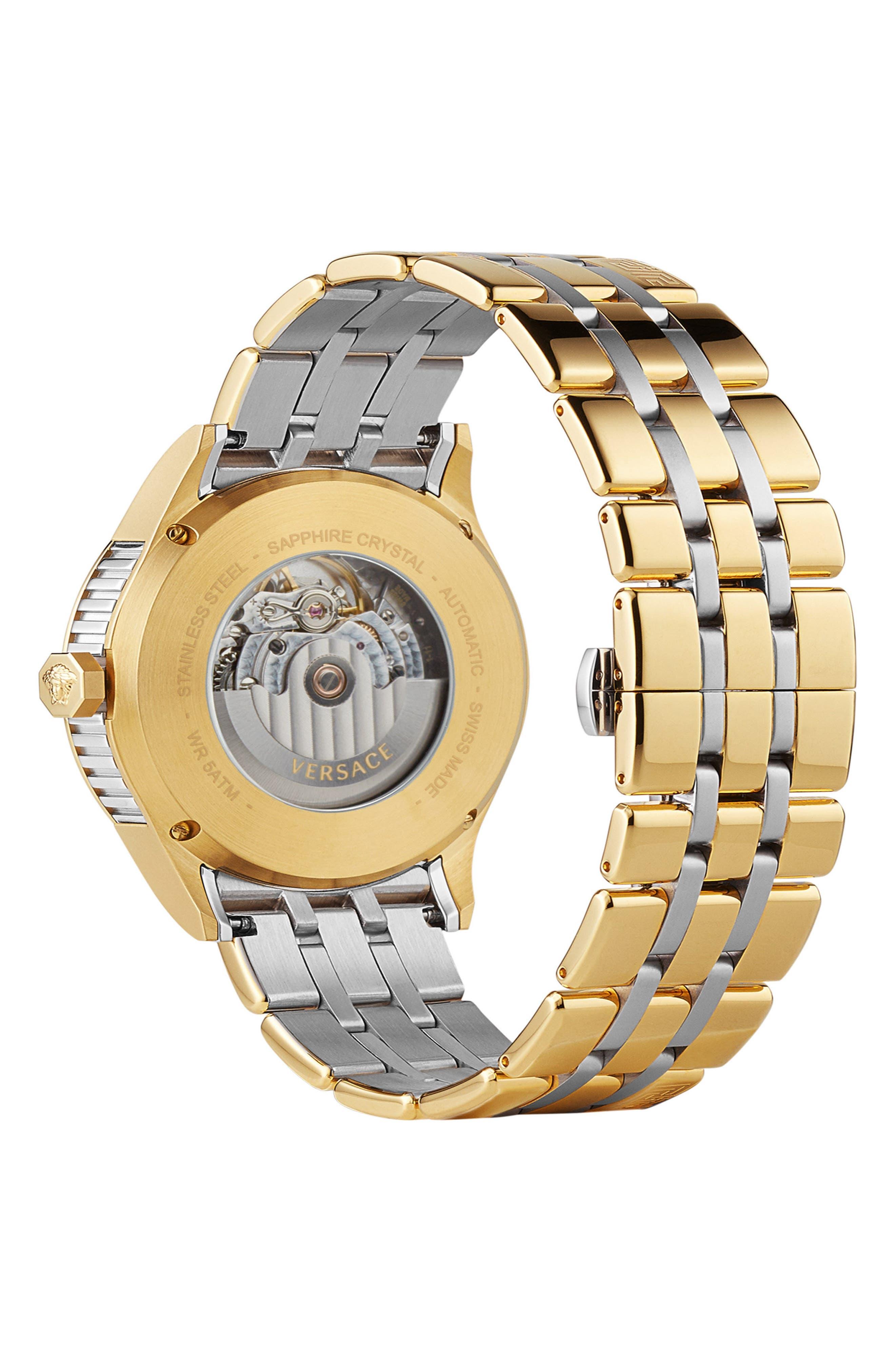 Aiakos Automatic Bracelet Watch, 44mm,                             Alternate thumbnail 2, color,                             Gold/ Blue/ Gold