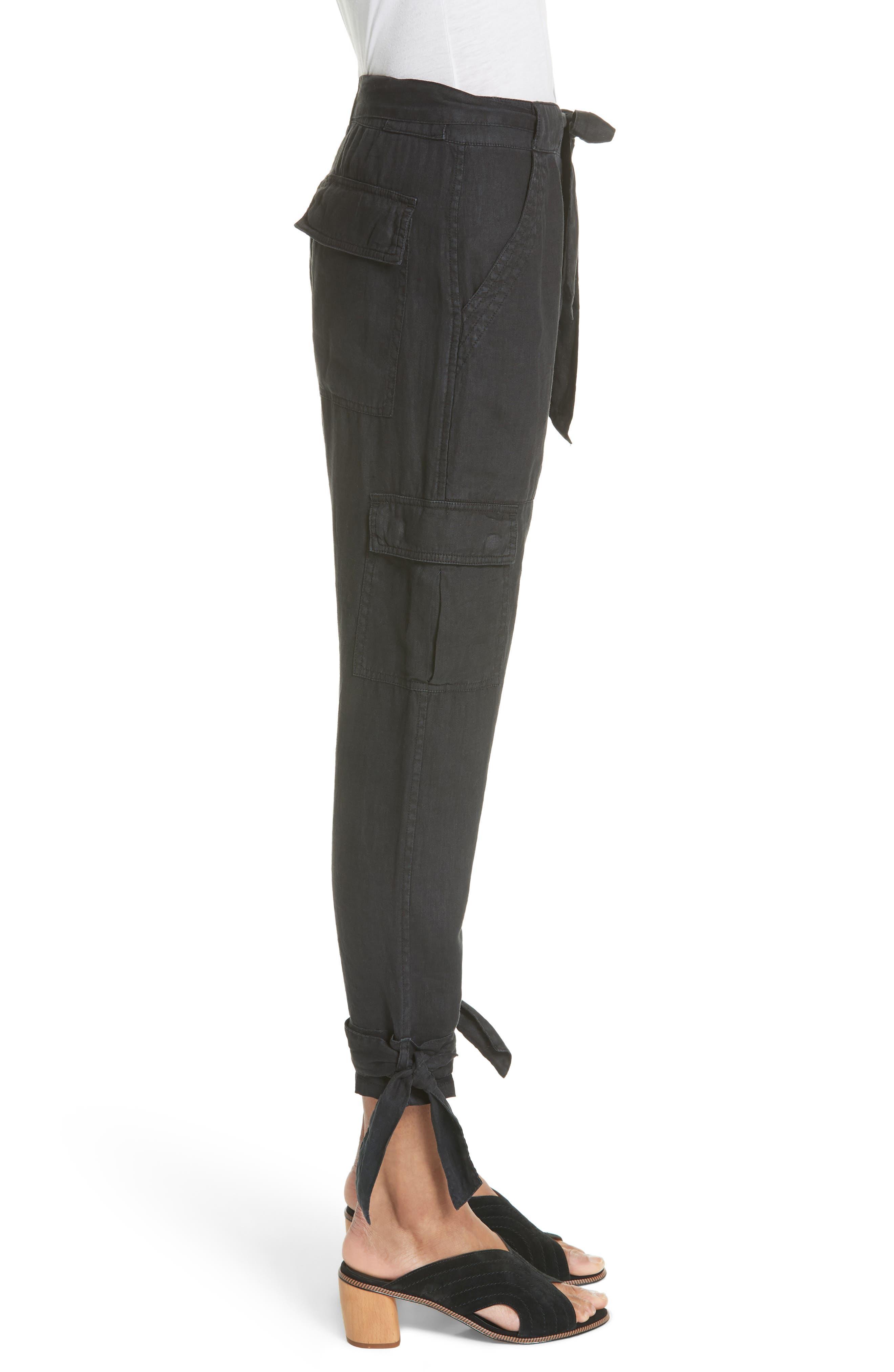 Erlette Linen Tie Cuff Crop Pants,                             Alternate thumbnail 3, color,                             Caviar
