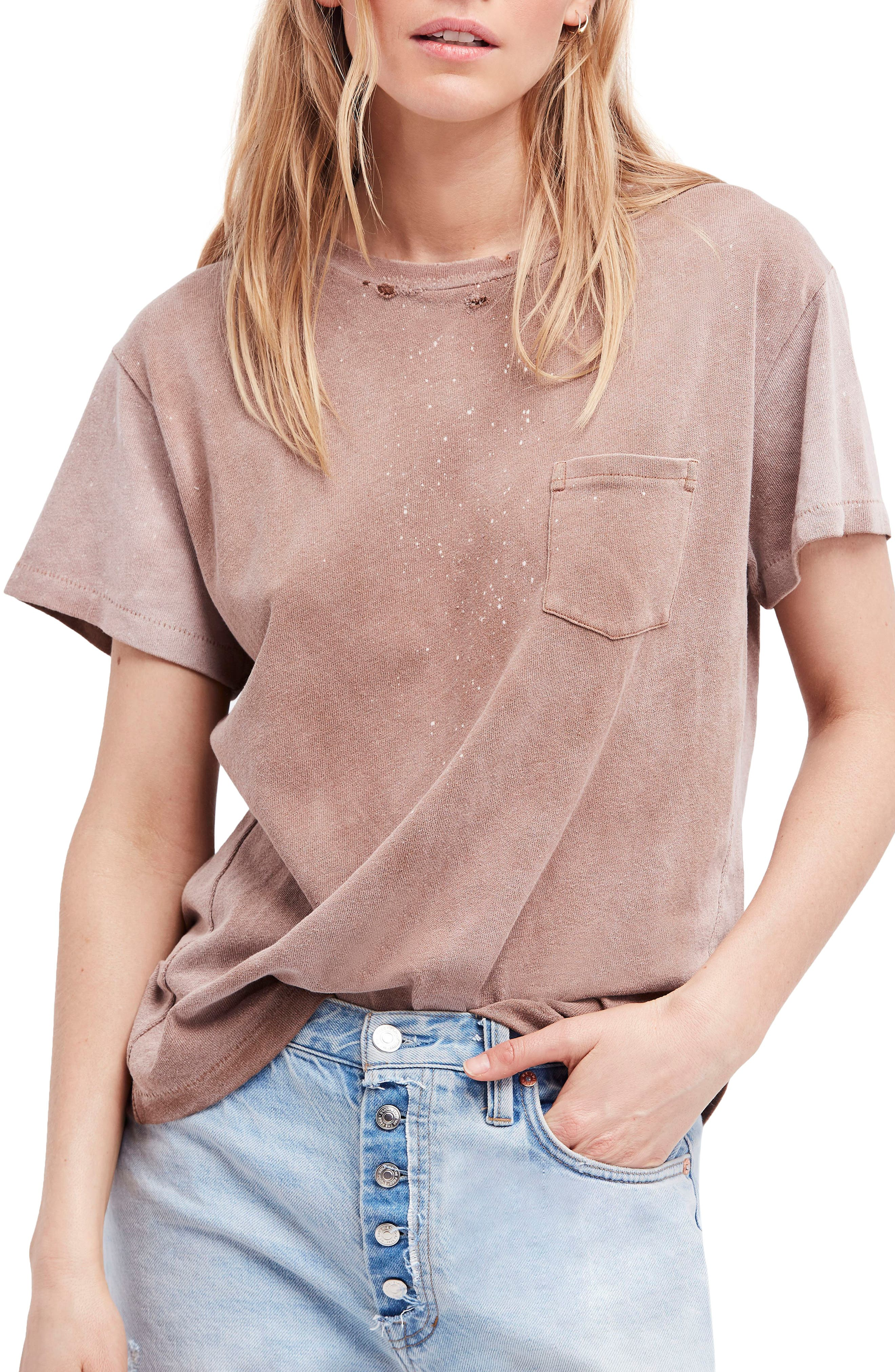We the People by Free People Vintage Pocket Tee,                             Main thumbnail 1, color,                             Lilac