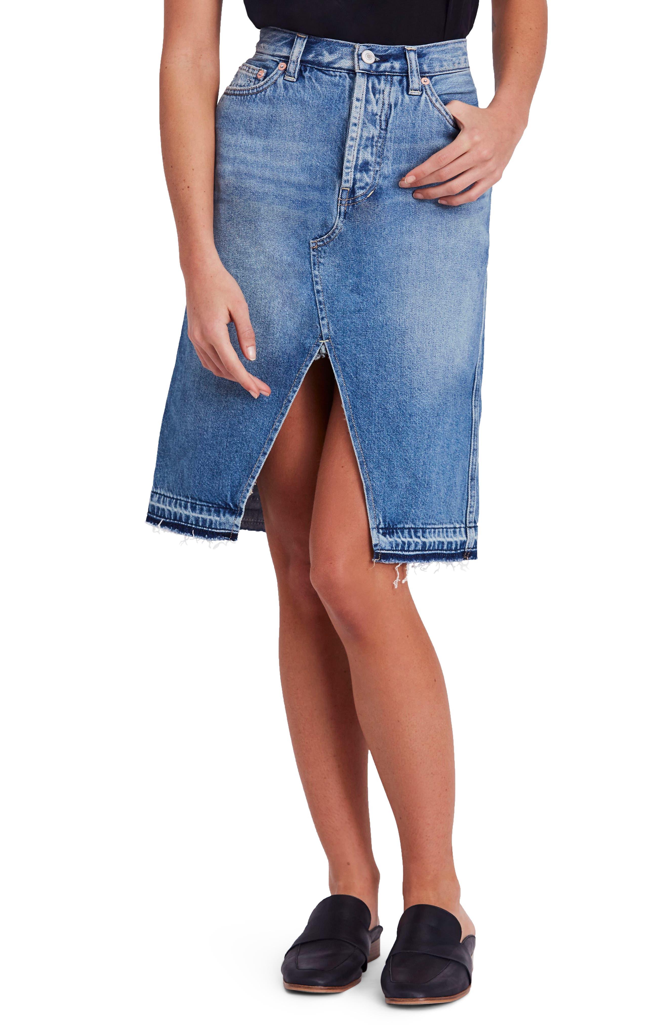 Front Slit Denim Skirt,                         Main,                         color, Blue