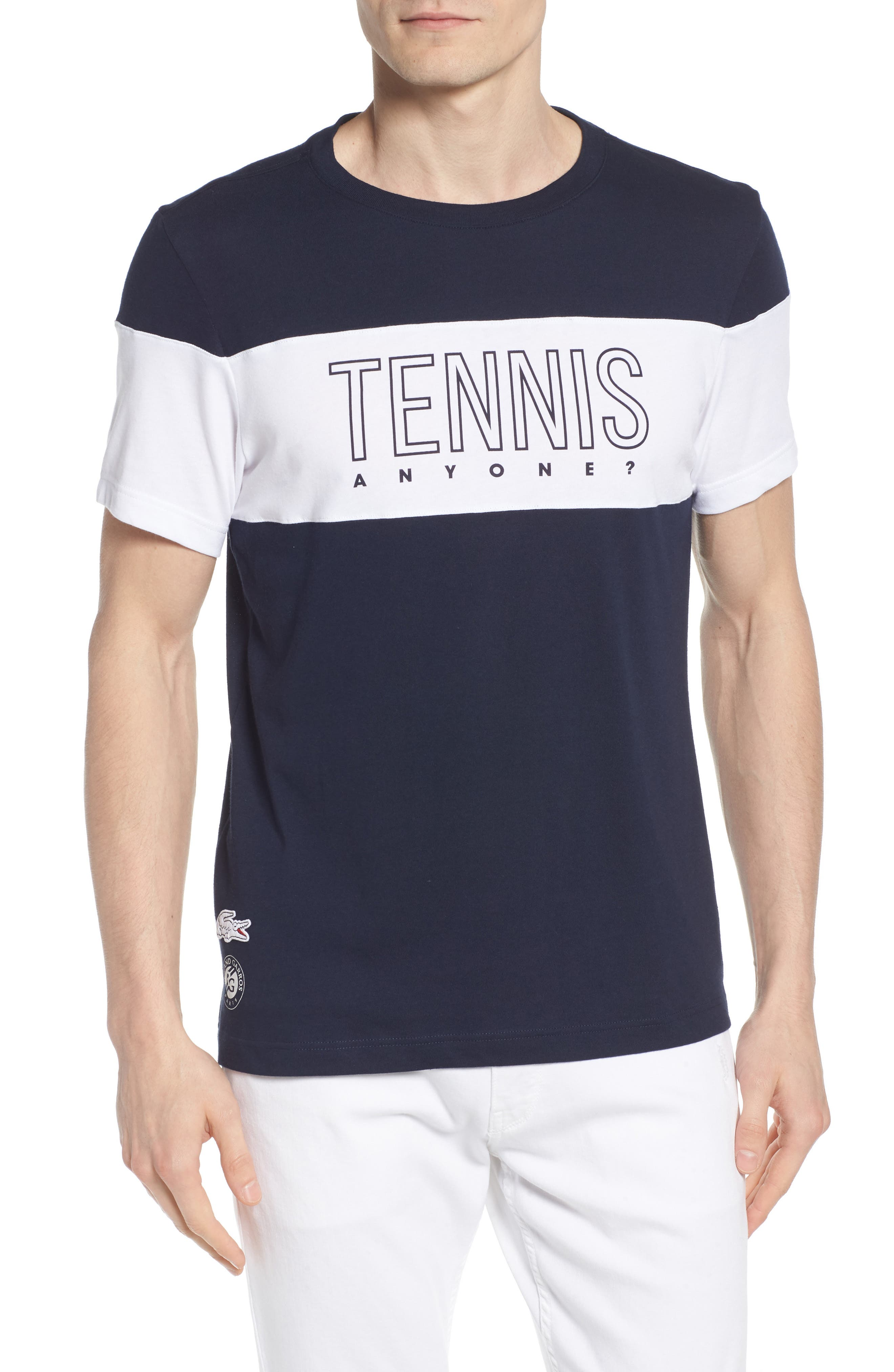 Tennis Anyone Tech Jersey T-Shirt,                             Main thumbnail 1, color,                             Navy Blue/ White