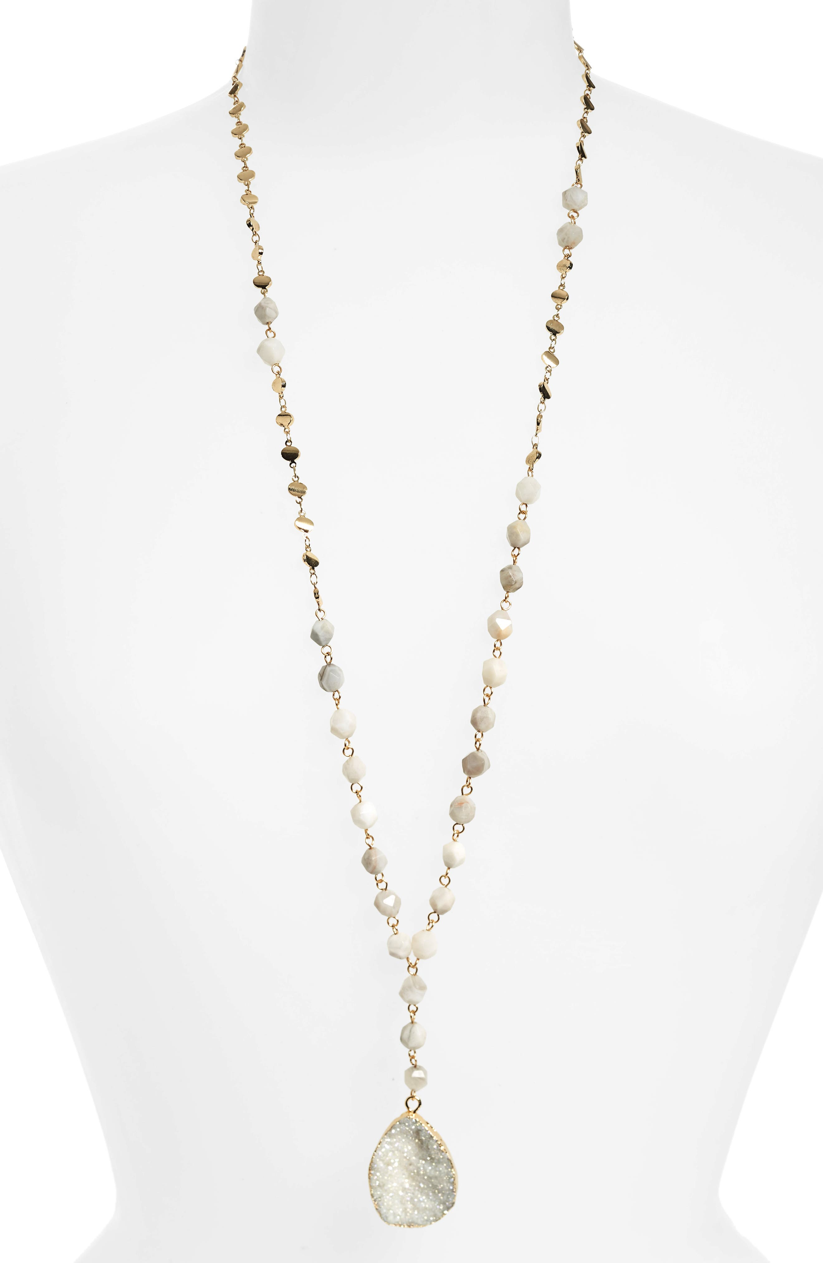 Drusy & Agate Bead Y-Necklace,                         Main,                         color, Grey