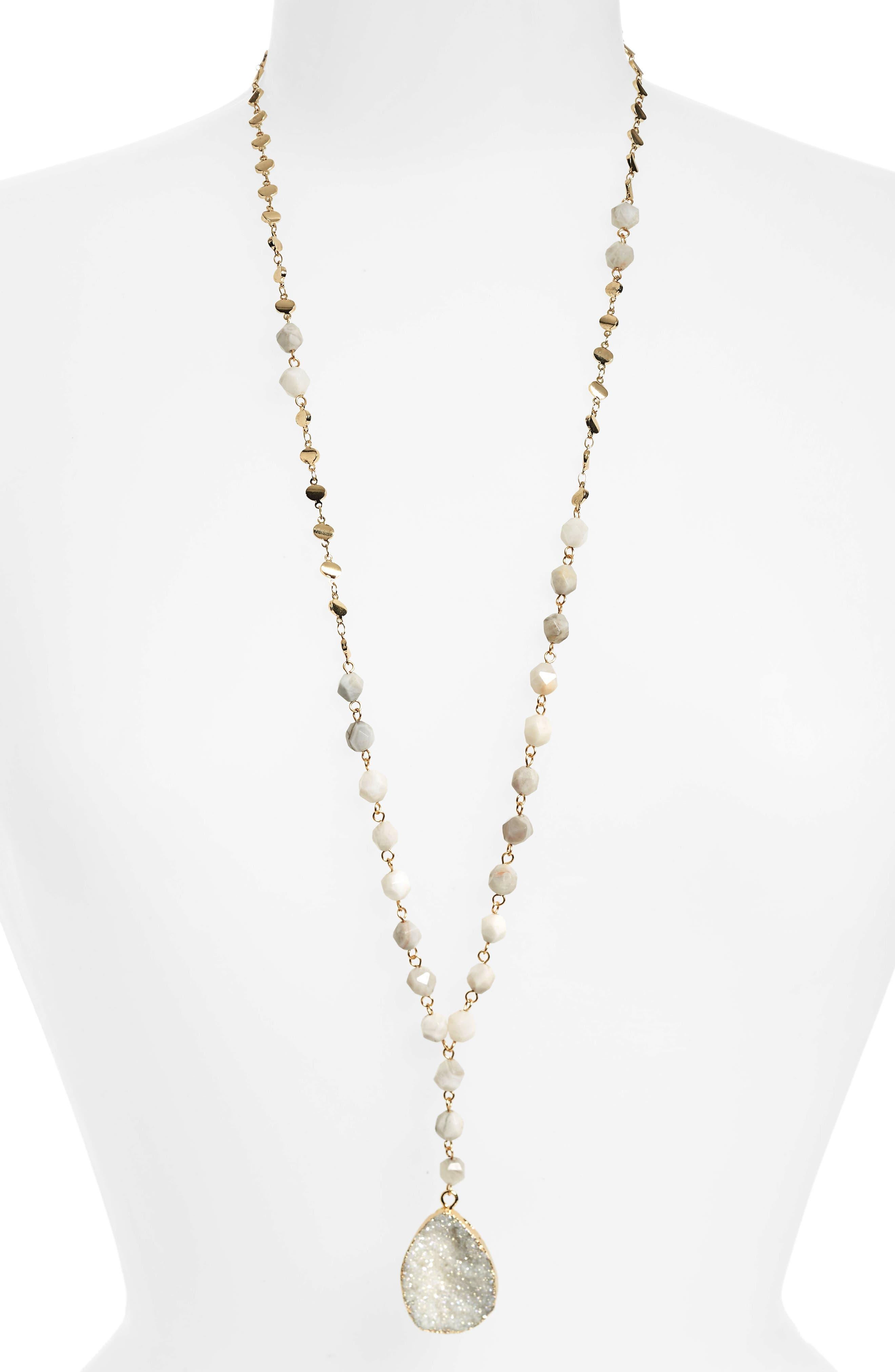 Drusy & Agate Bead Y-Necklace,                         Main,                         color, Grey