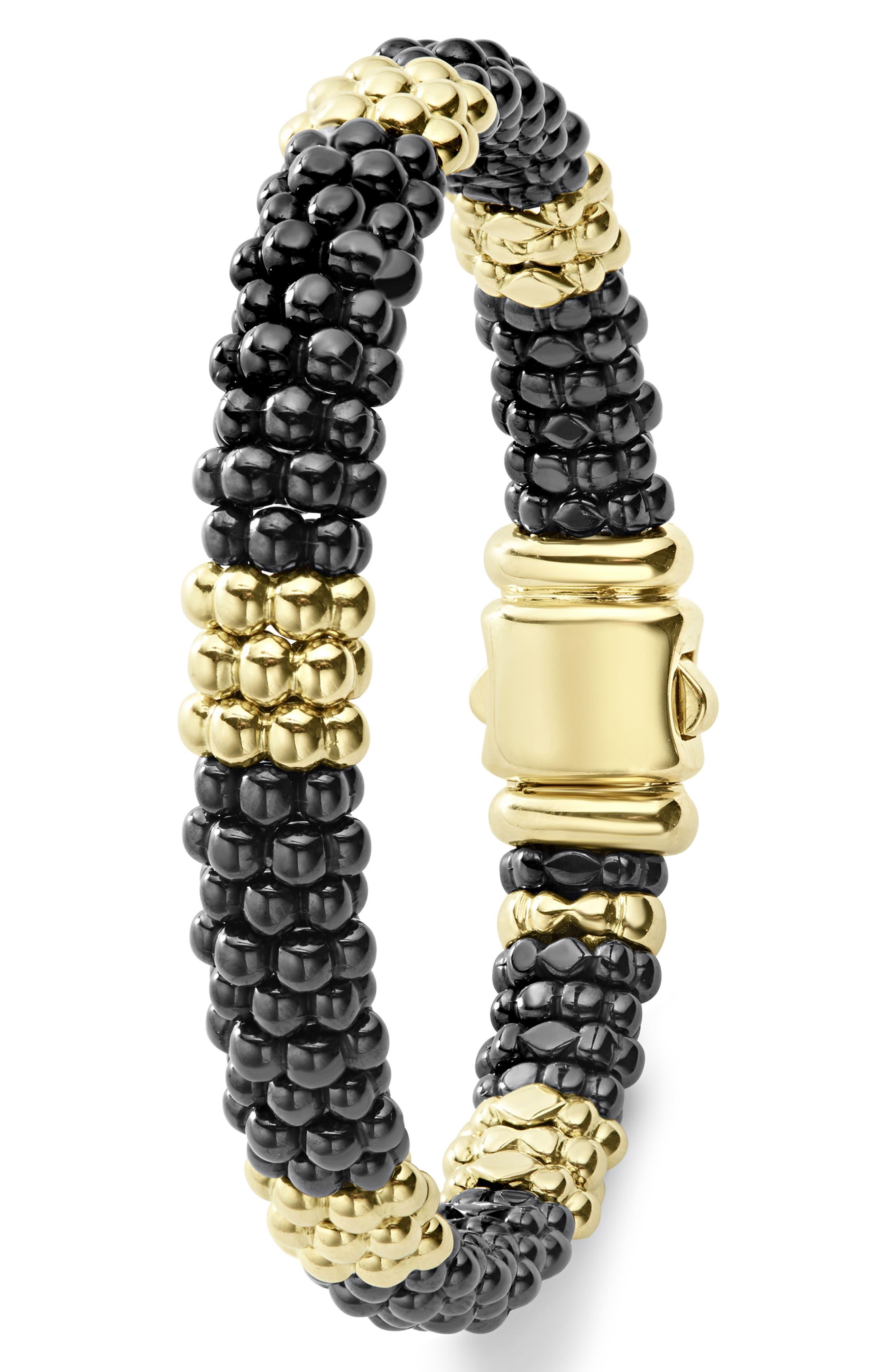 Gold & Black Caviar Station Bracelet,                             Alternate thumbnail 4, color,                             Gold