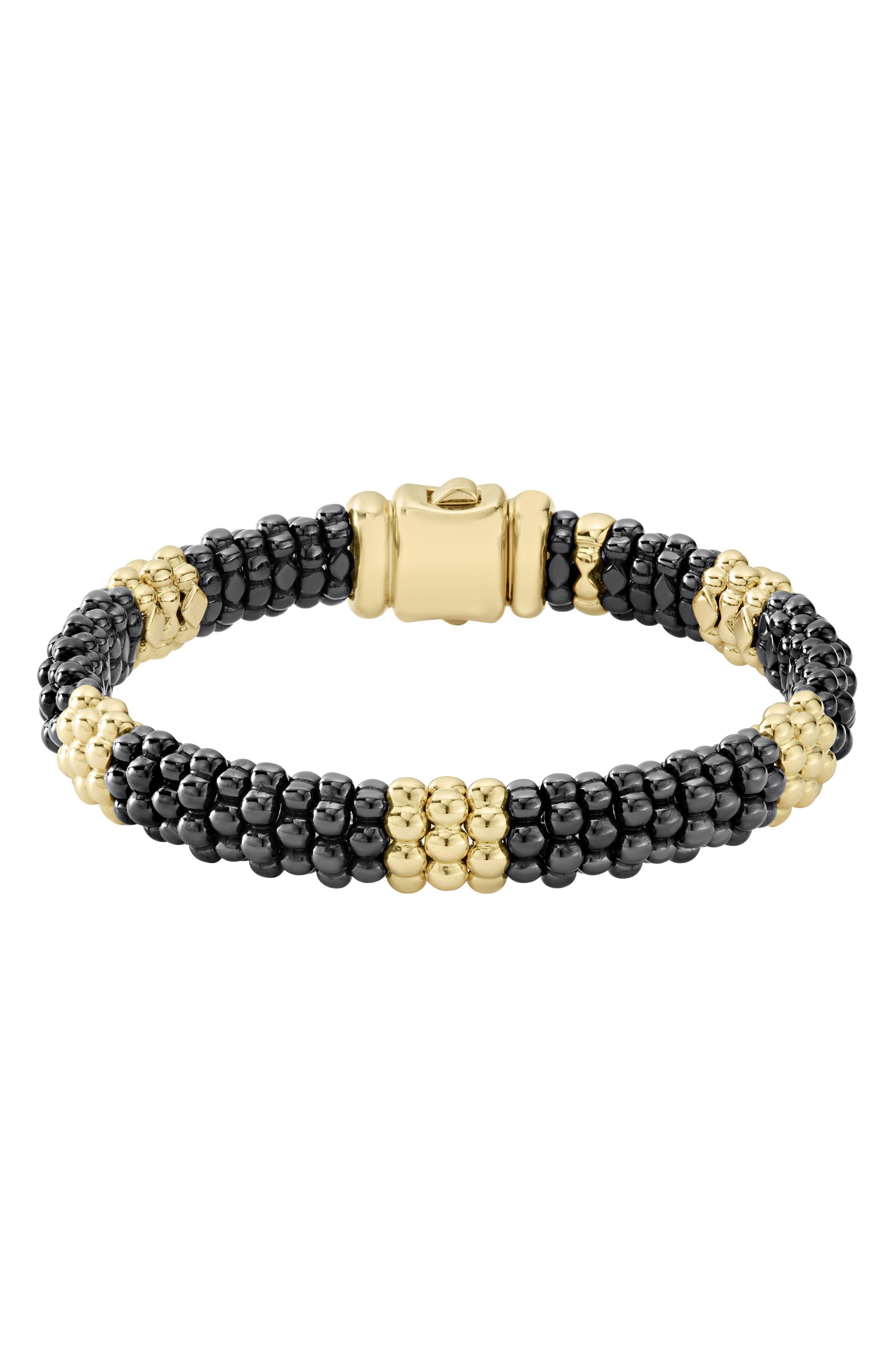 Gold & Black Caviar Station Bracelet,                             Main thumbnail 1, color,                             Gold