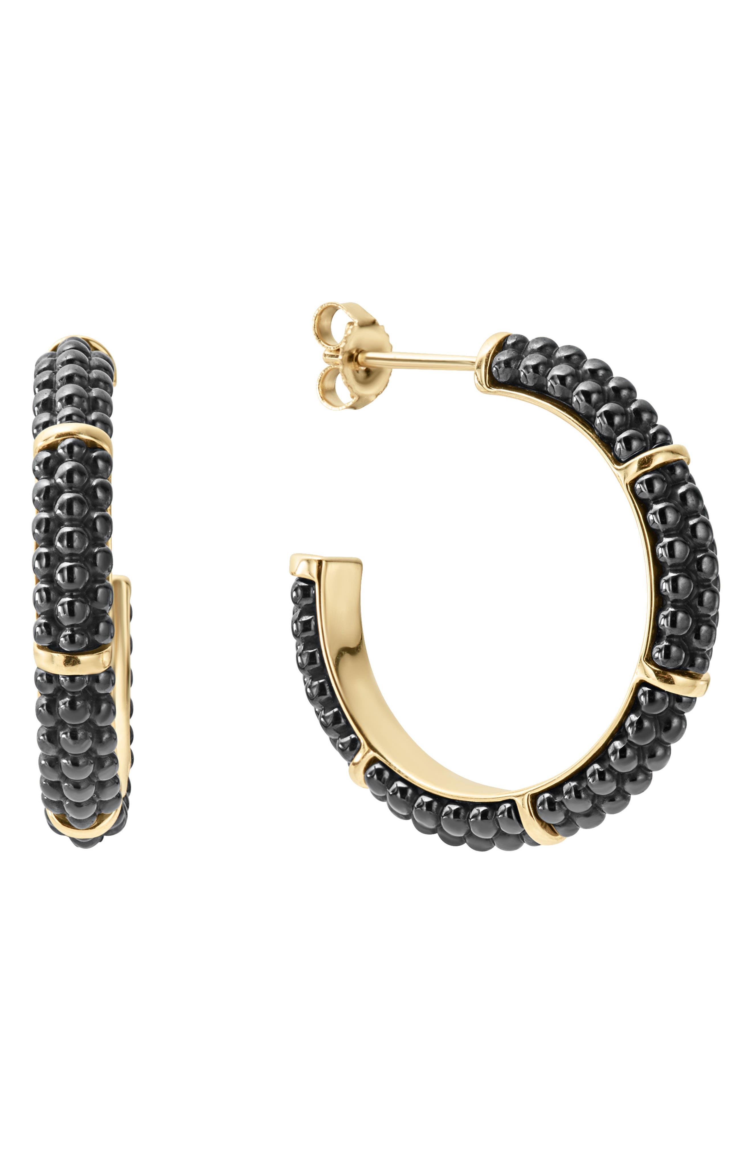 Gold & Black Caviar Hoop Earrings,                             Main thumbnail 1, color,                             Gold