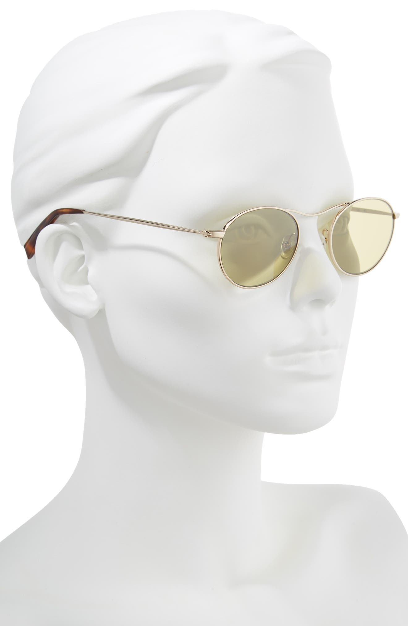 Tasha 49mm Oval Sunglasses,                             Alternate thumbnail 2, color,                             Light Gold Metal/ Camo Silver