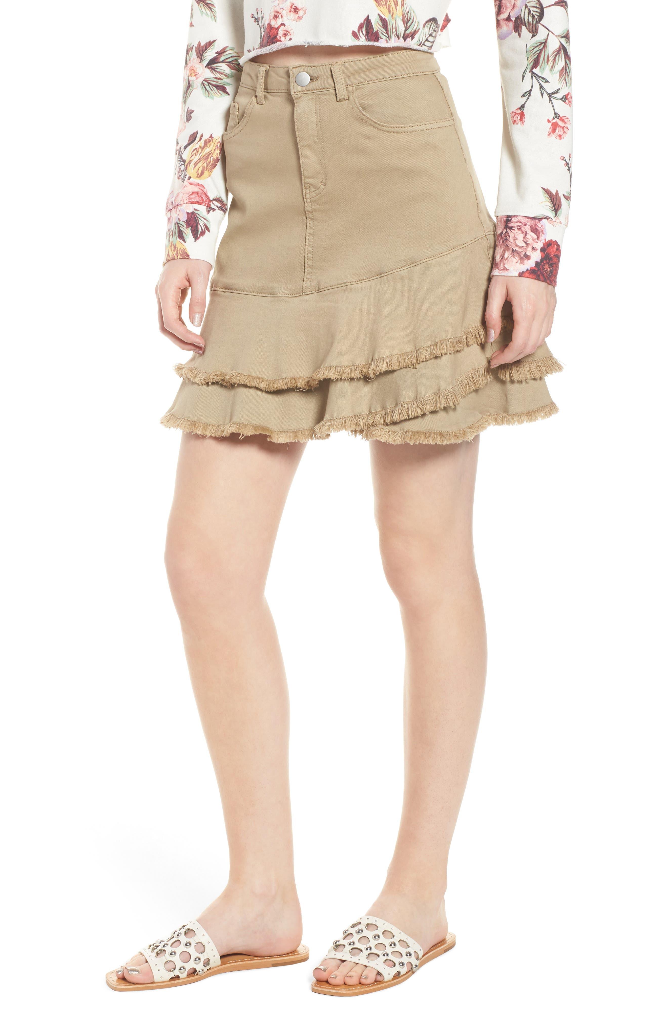 Tiered Fray Hem Skirt,                         Main,                         color, Beige Nougat