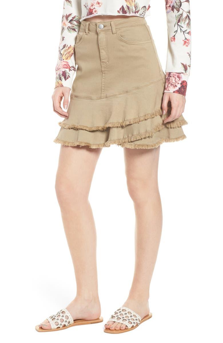 Tiered Fray Hem Skirt