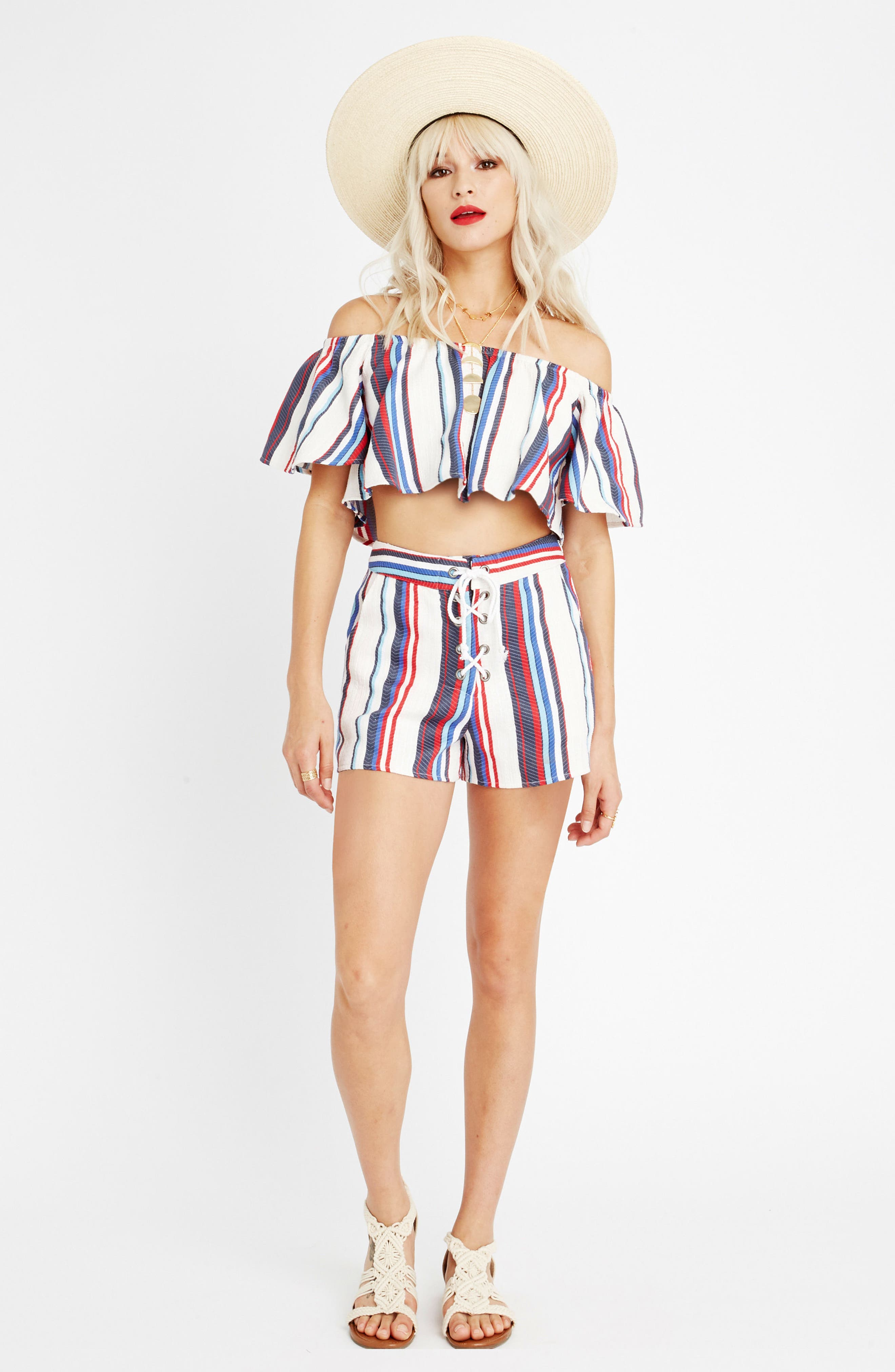 Azul Stripe Off the Shoulder Crop Top,                             Alternate thumbnail 2, color,                             Blue/ Red Stripe