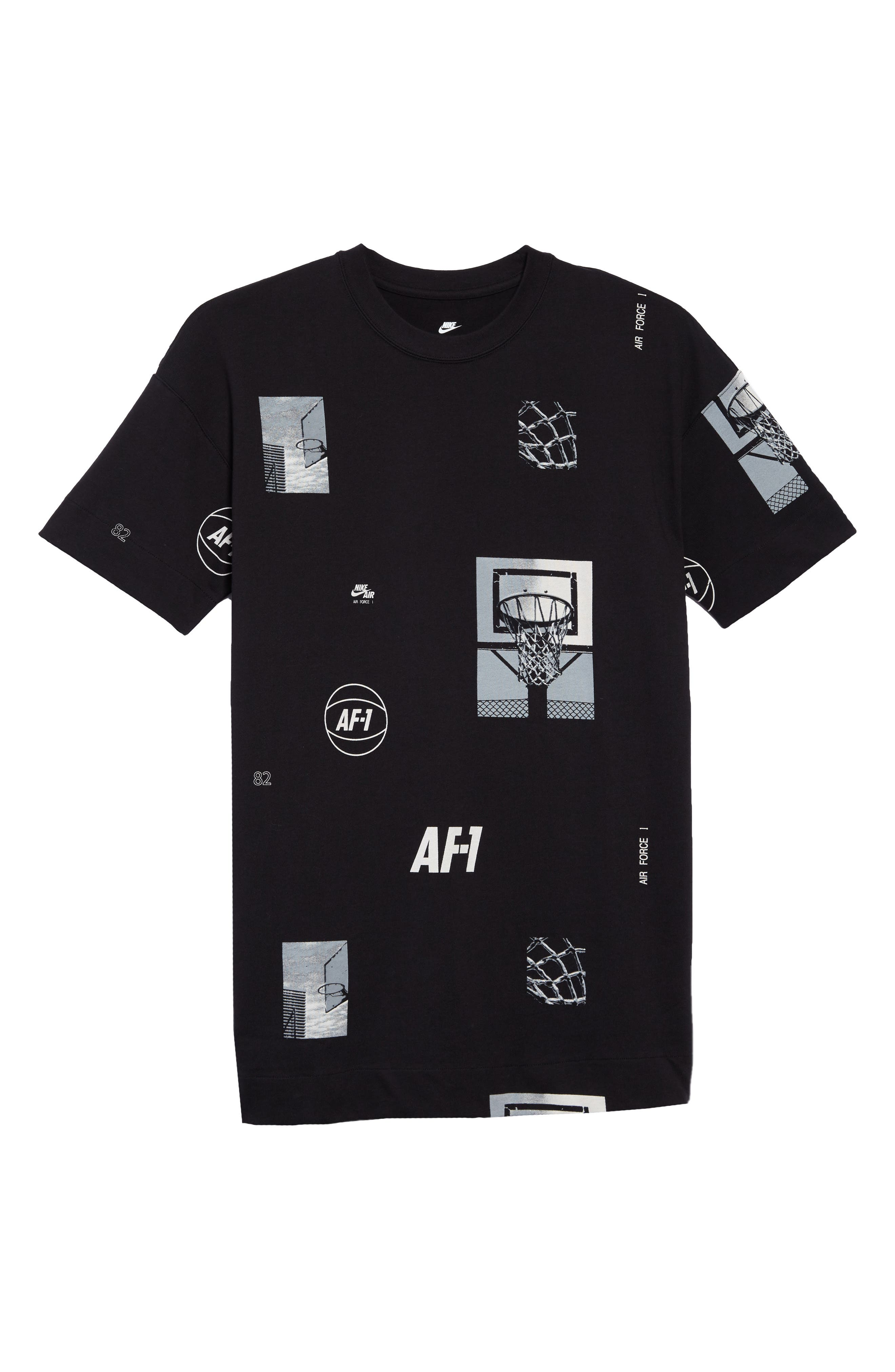 Sportswear AF-1 Oversize T-Shirt,                             Alternate thumbnail 6, color,                             Black/ White