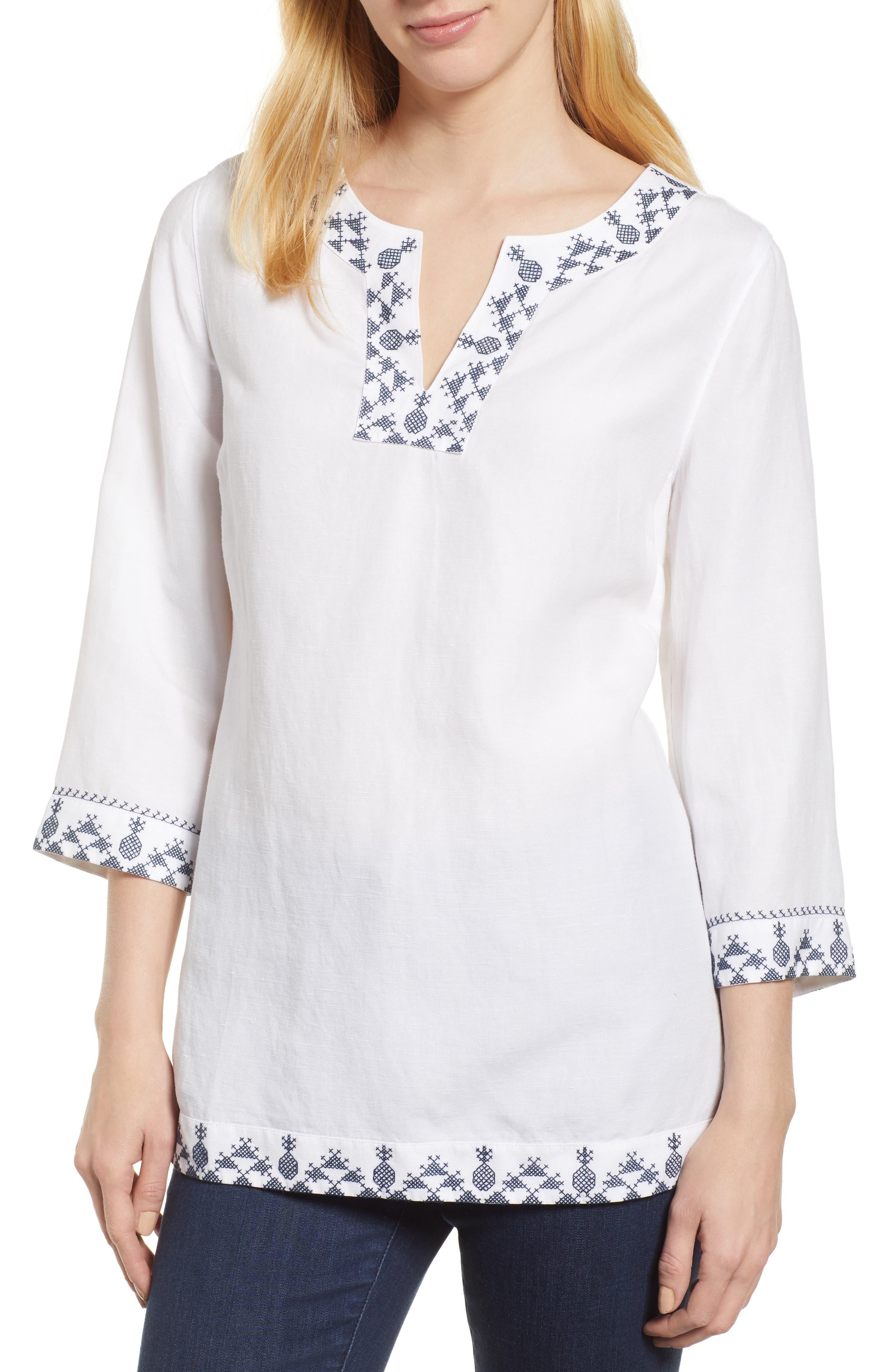 Prim Pina Embroidered Tunic,                             Main thumbnail 1, color,                             White