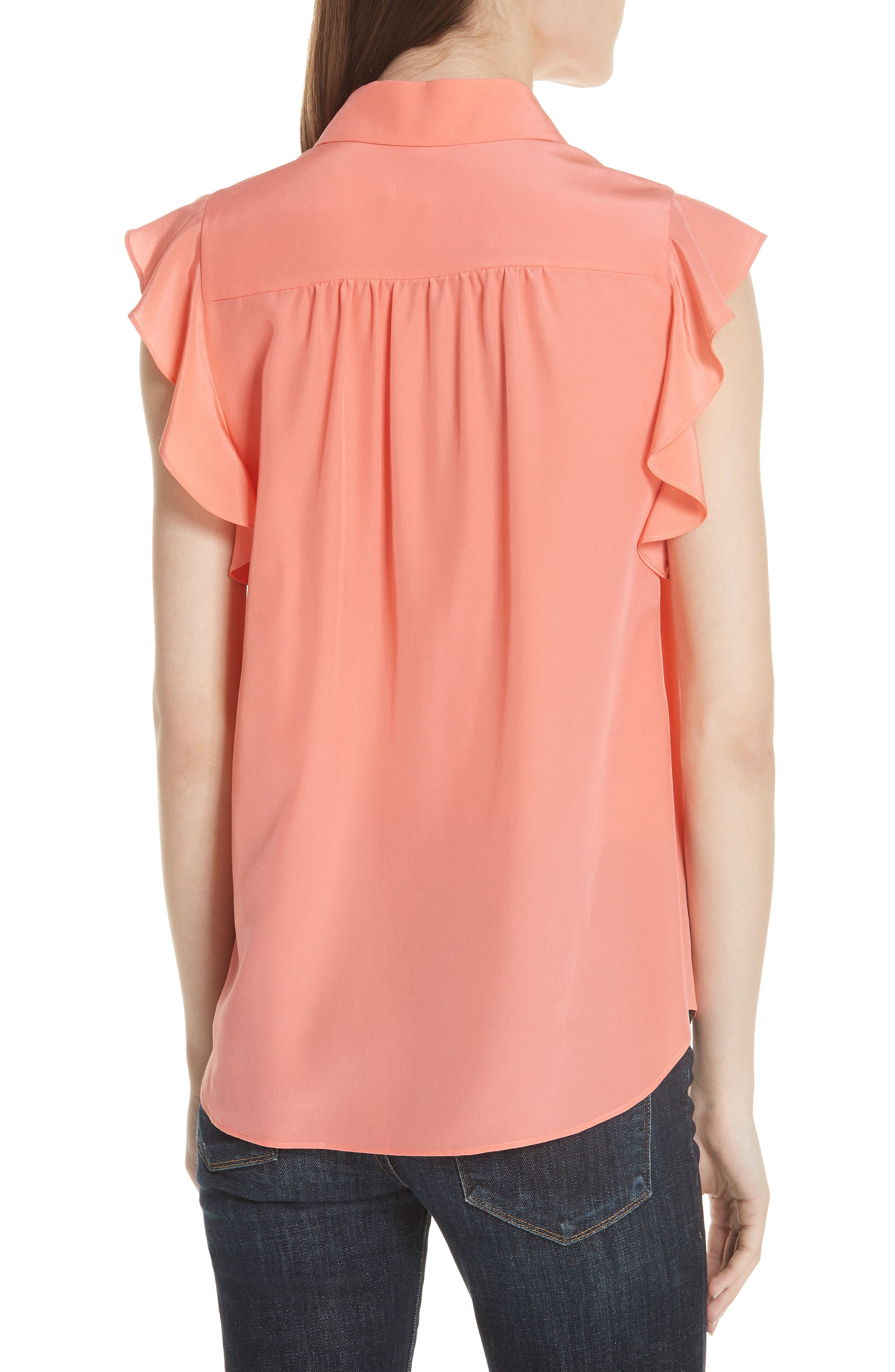 ruffle sleeve silk top,                             Alternate thumbnail 2, color,                             Apricot Sorbet