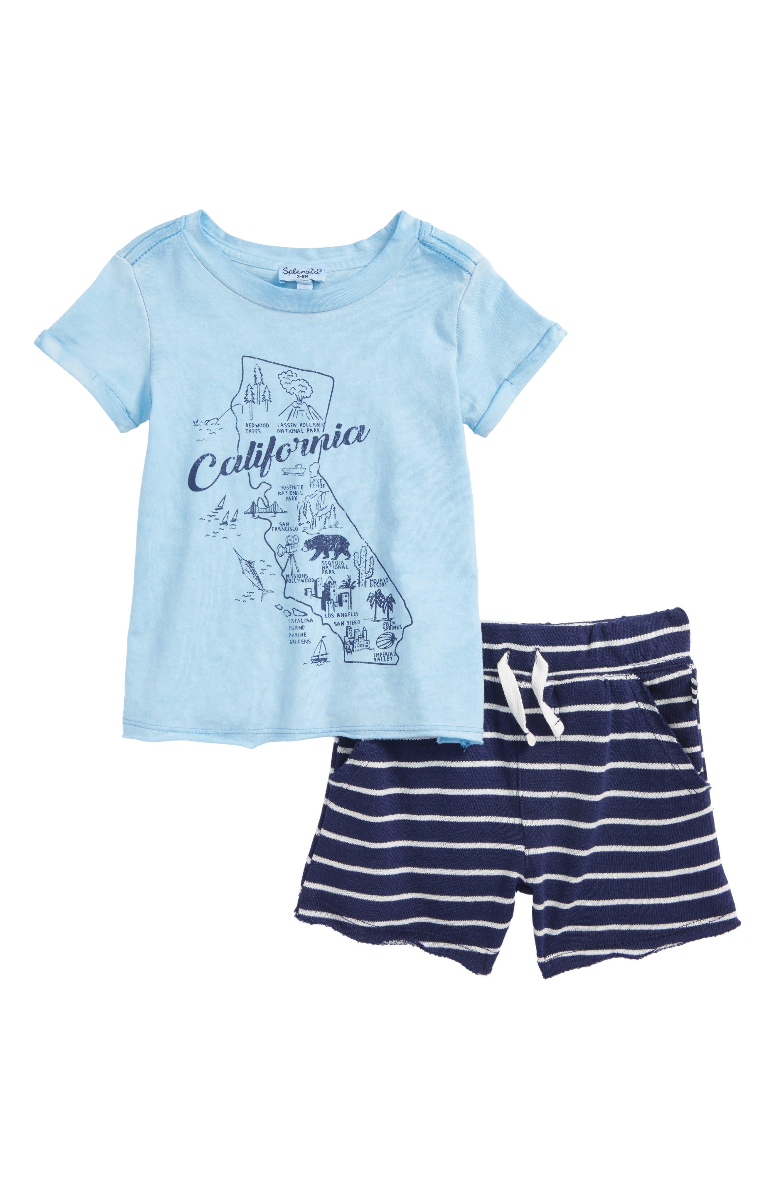 California Map T-Shirt & Shorts Set,                         Main,                         color, Sky Blue