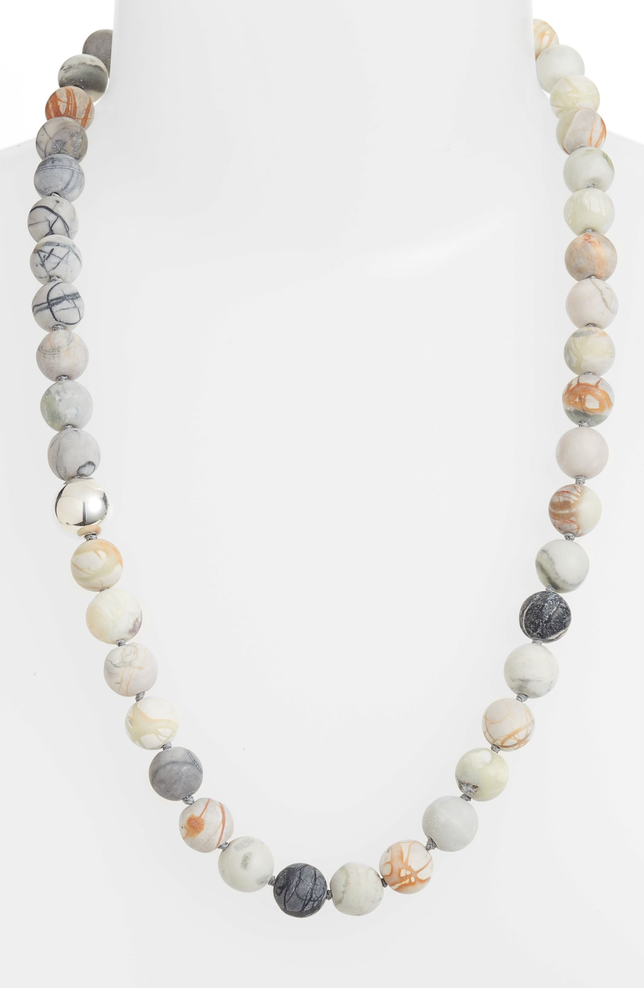 Matte Picasso Bead Necklace,                             Main thumbnail 1, color,                             Stone/ Silver