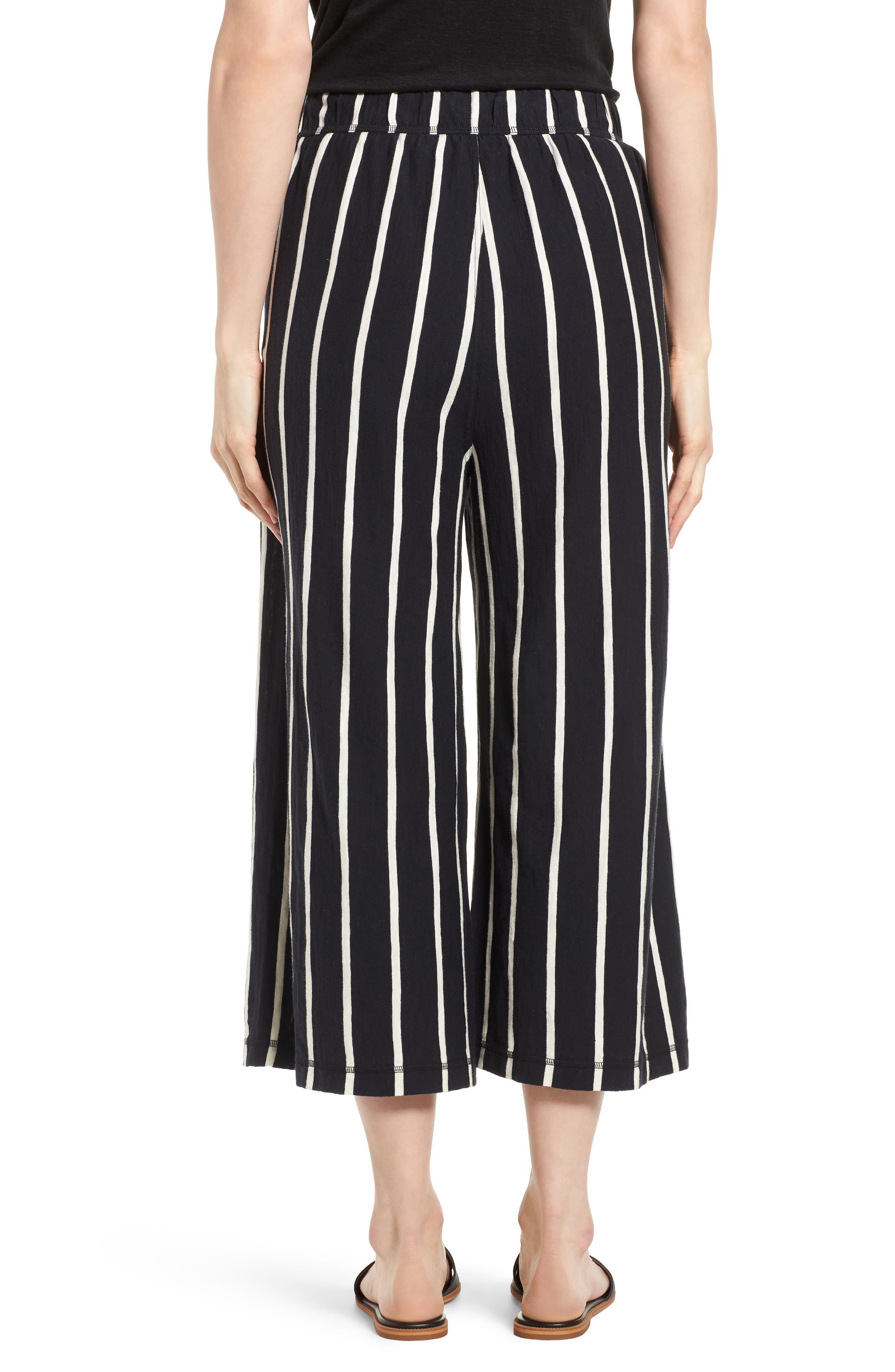 Stripe Organic Cotton Capri Pants,                             Alternate thumbnail 2, color,                             Black/ White