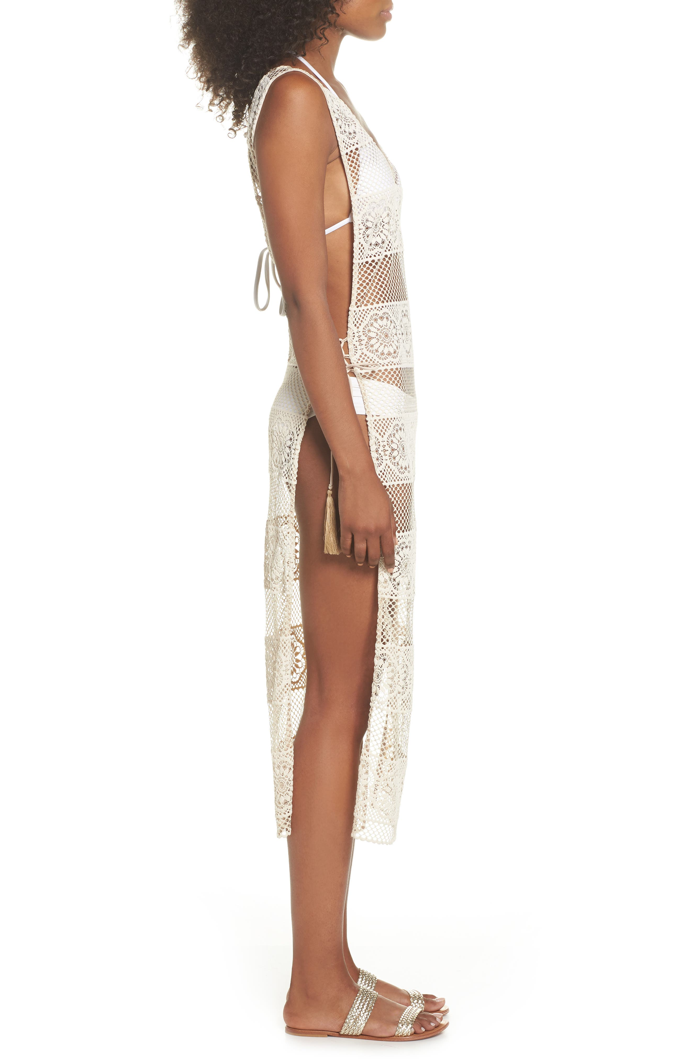 Joy Lace Cover-Up Dress,                             Alternate thumbnail 3, color,                             Water Lily