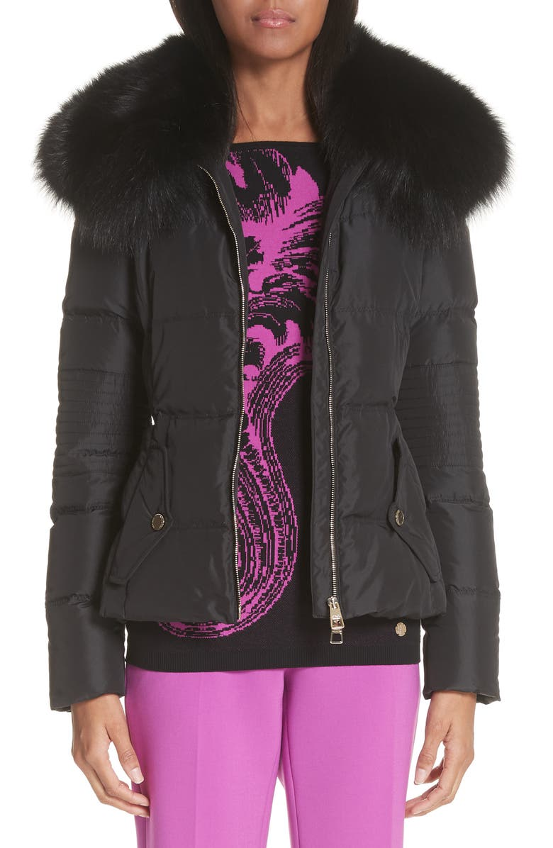Down Puffer Jacket with Removable Genuine Fox Fur Collar