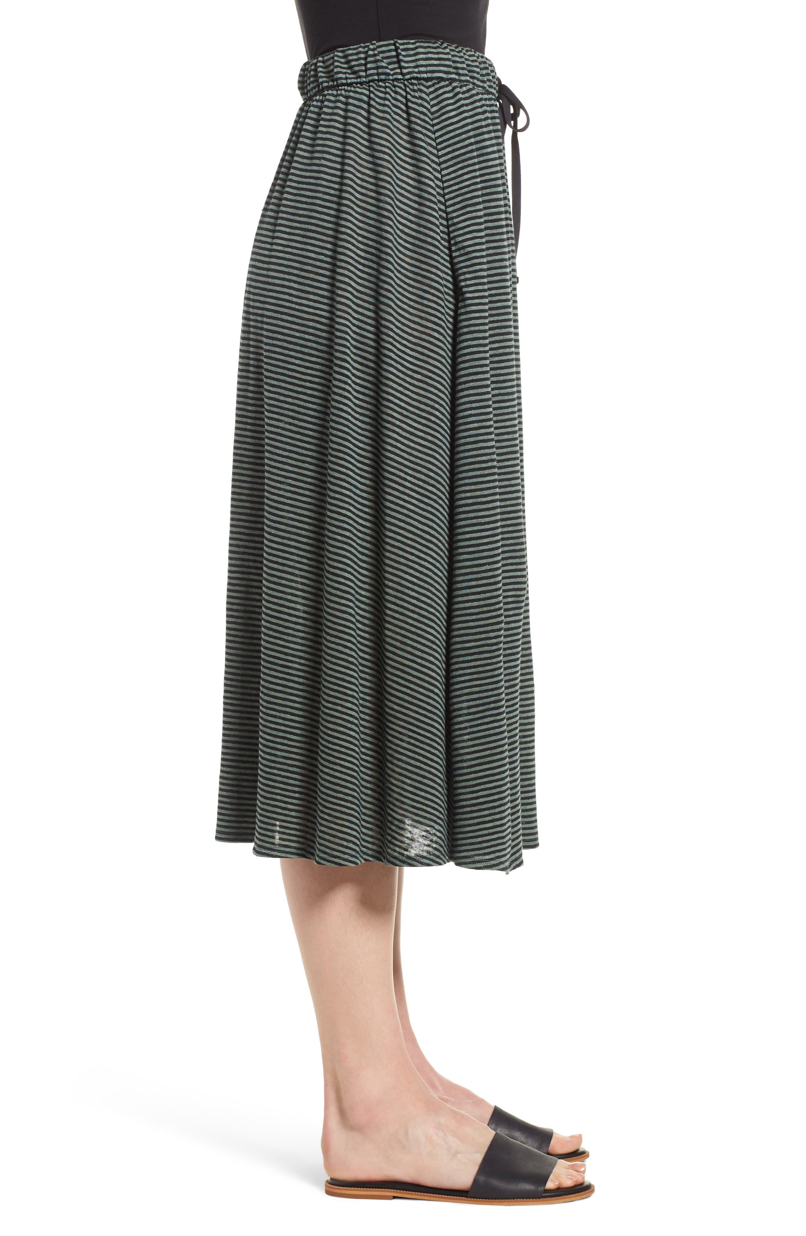 Flared Stripe Organic Linen Skirt,                             Alternate thumbnail 3, color,                             Nori