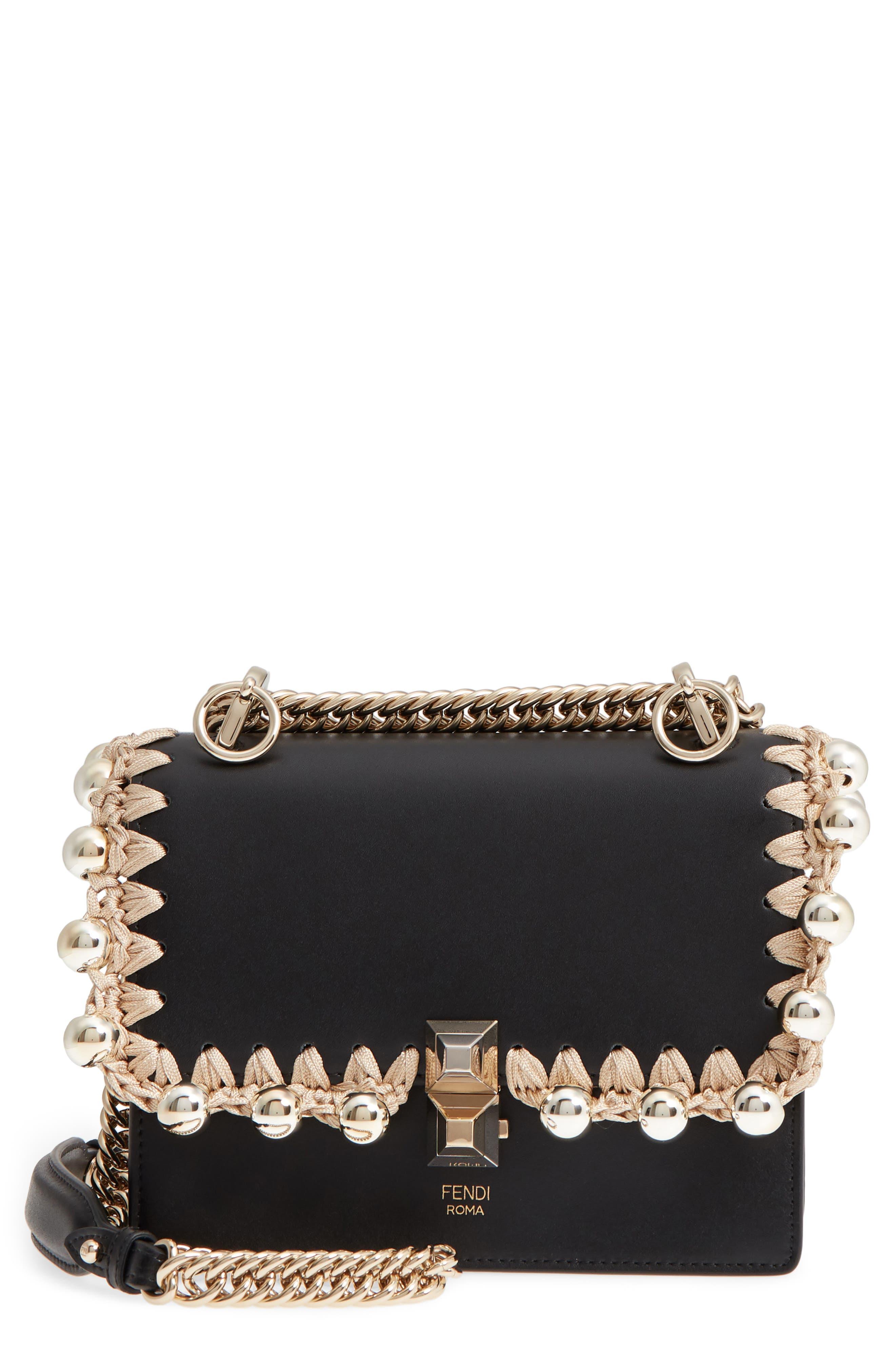 Small Kan I Leather Shoulder Bag,                         Main,                         color, Nero/ Oro/ Chiaro