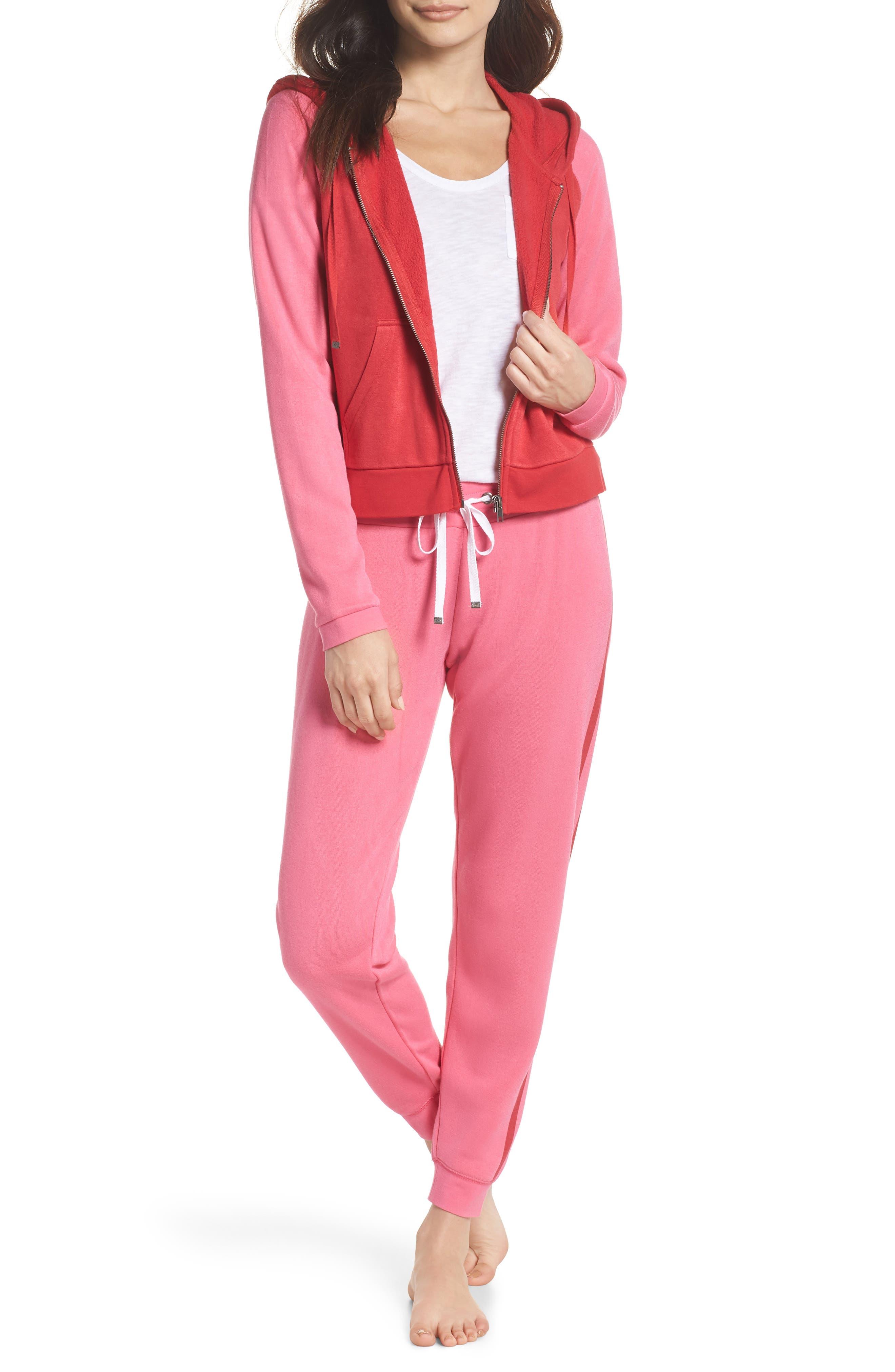 Firecracker Jogger Pajama Pants,                             Alternate thumbnail 4, color,                             Pink Fandango