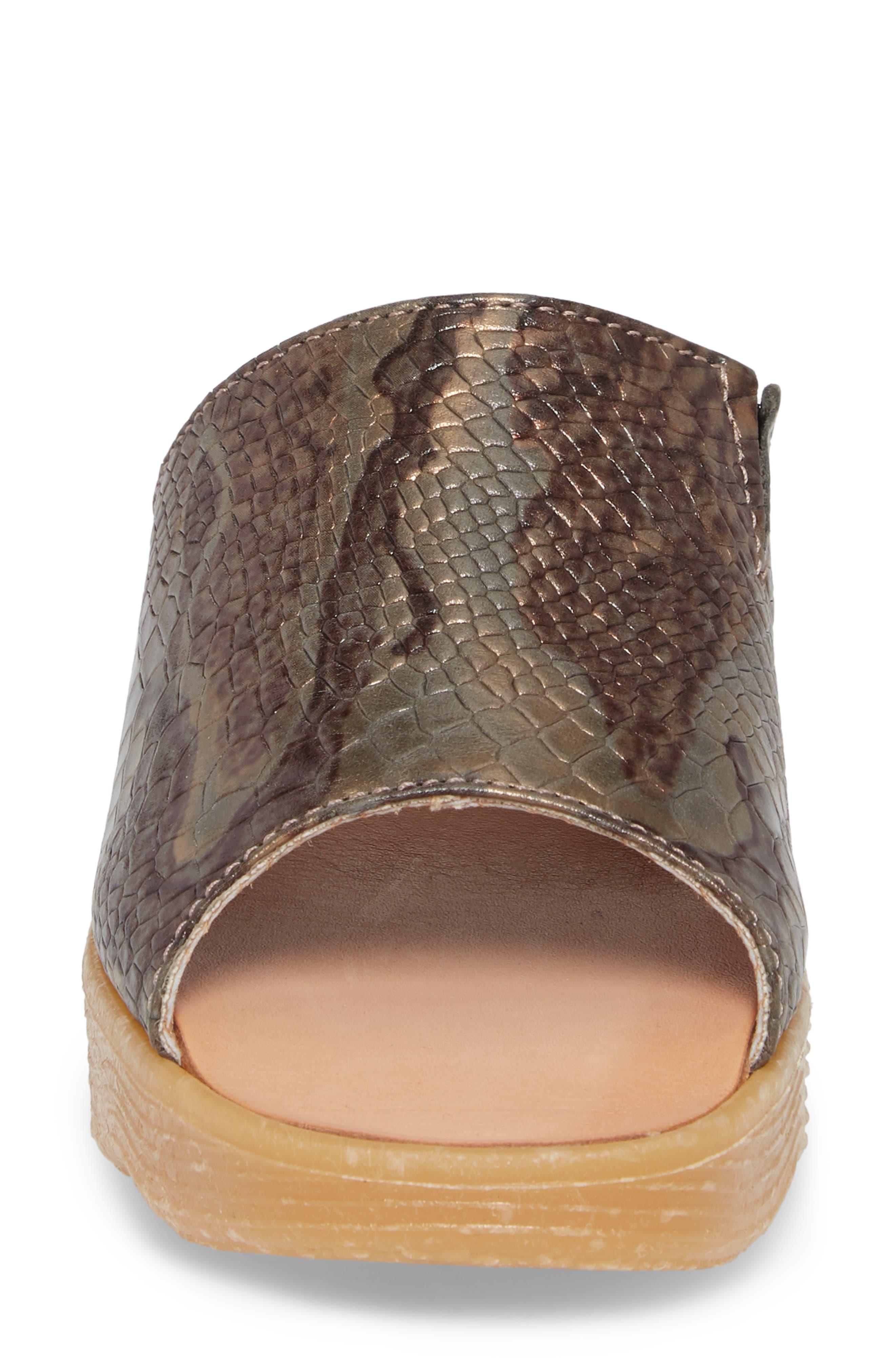 Slide N Sleek Wedge Slide Sandal,                             Alternate thumbnail 4, color,                             Snake Leather