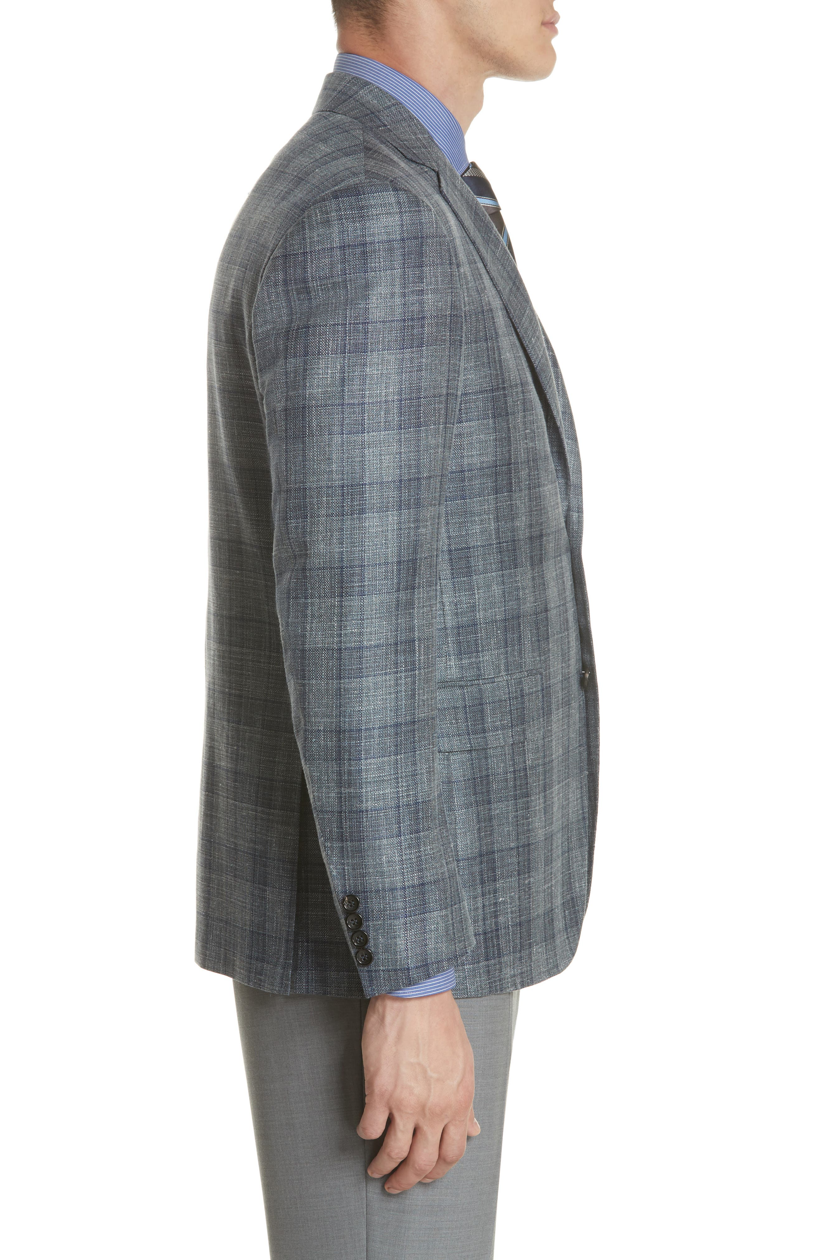 Classic Fit Wool Blend Check Sport Coat,                             Alternate thumbnail 3, color,                             Grey