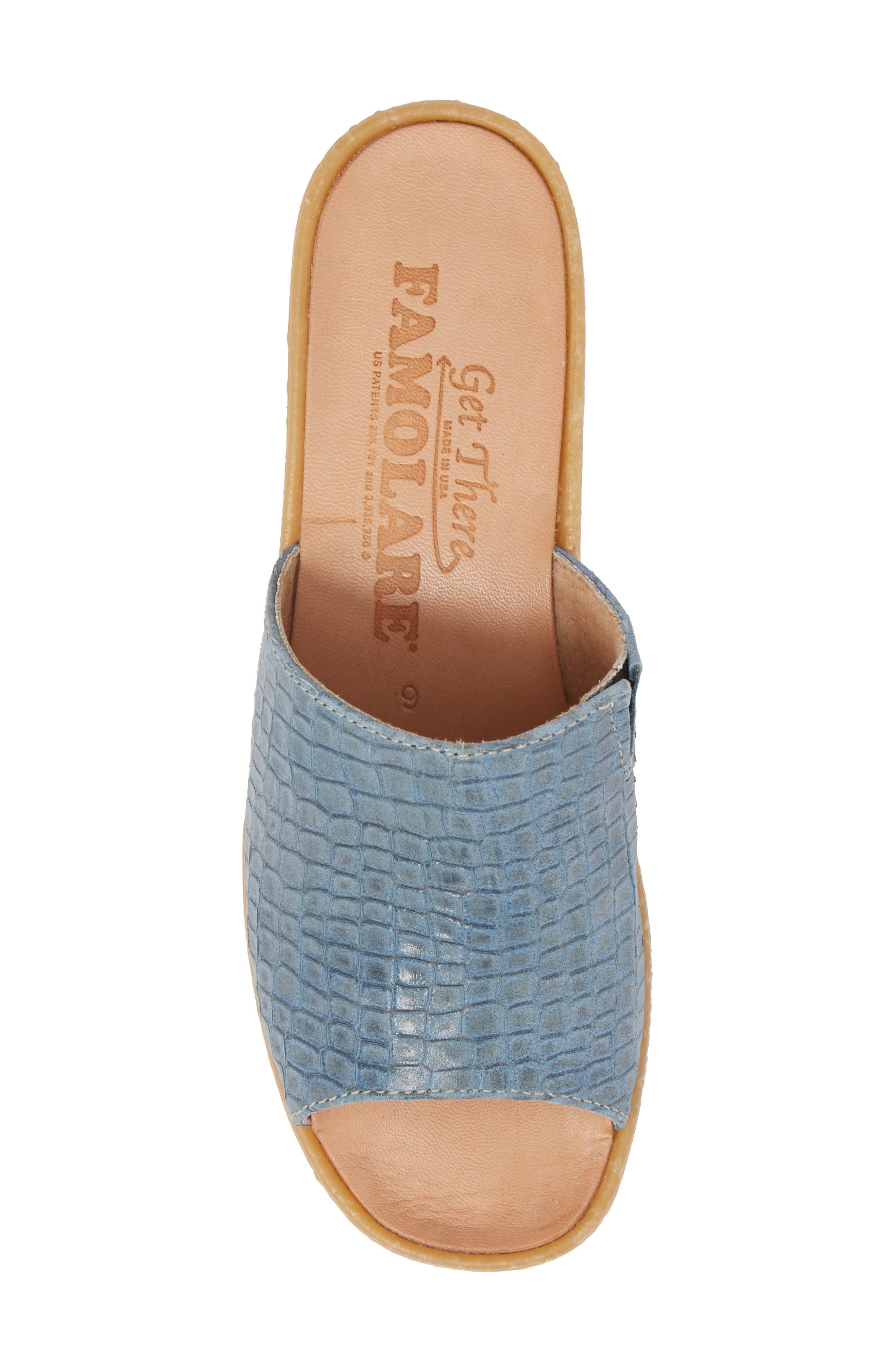 Slide N Sleek Wedge Slide Sandal,                             Alternate thumbnail 5, color,                             Aqua Croc Printed Leather