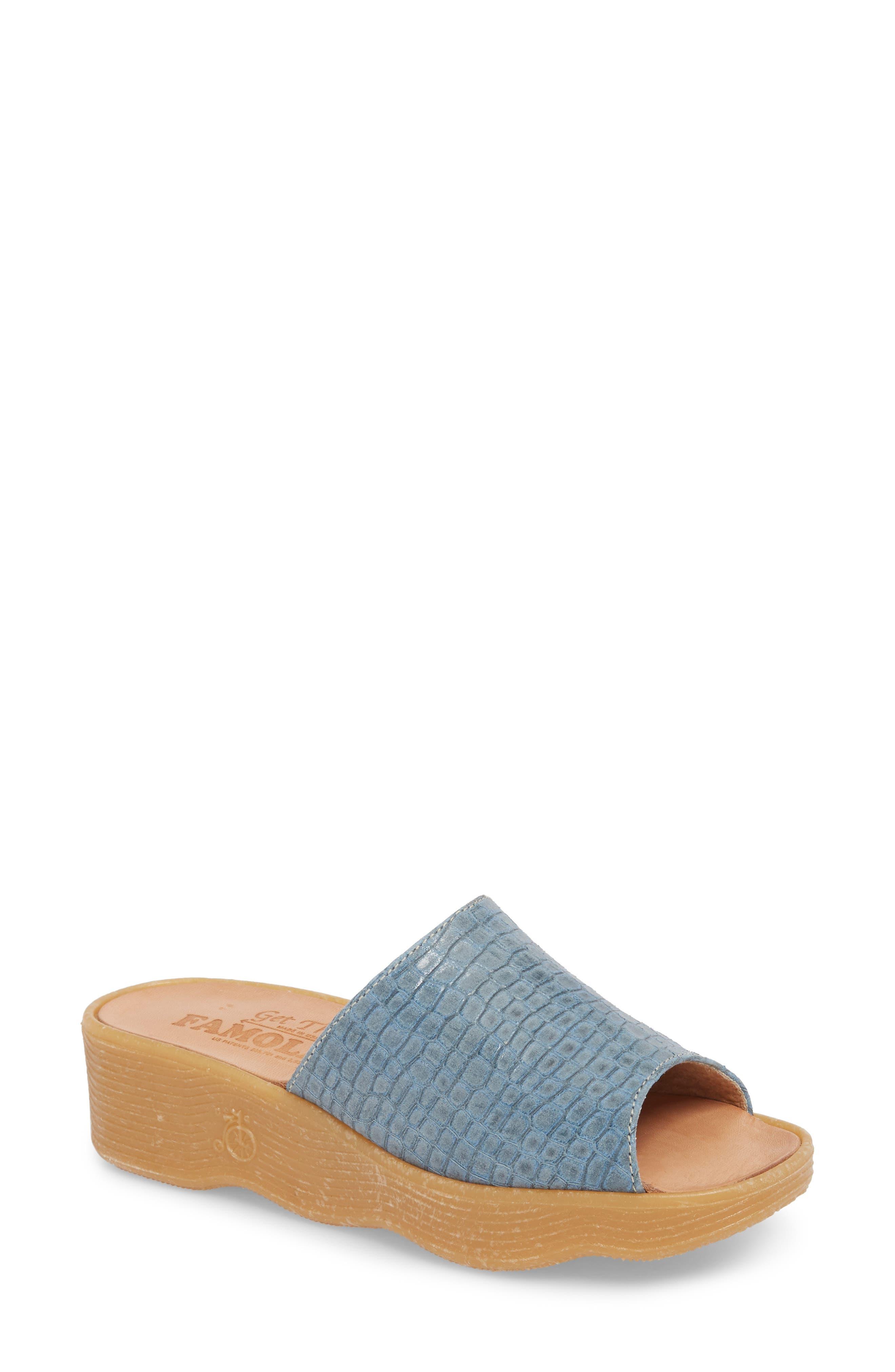 Slide N Sleek Wedge Slide Sandal,                         Main,                         color, Aqua Croc Printed Leather