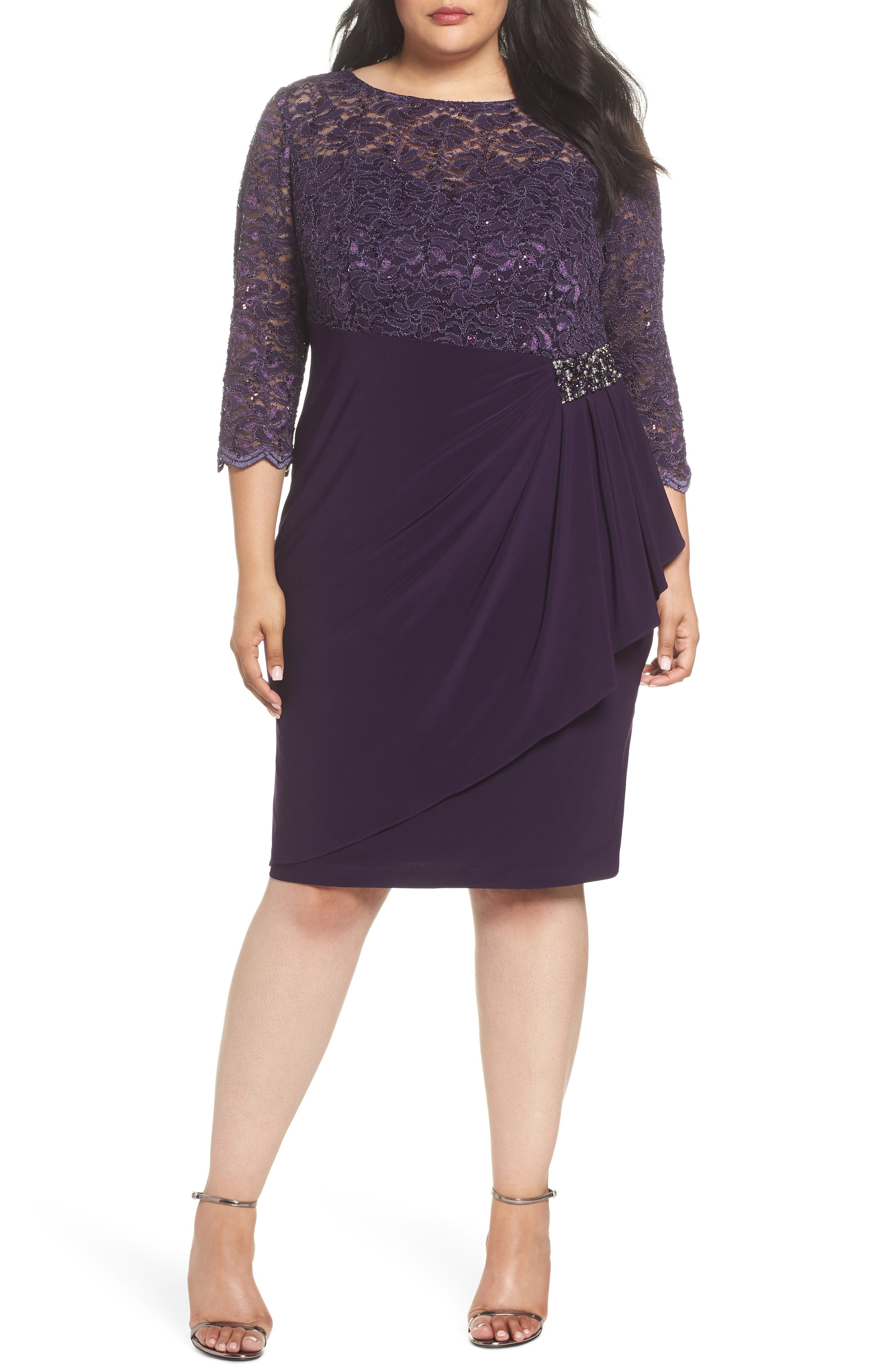Embellished Ruffle Detail Shift Dress,                         Main,                         color, Eggplant