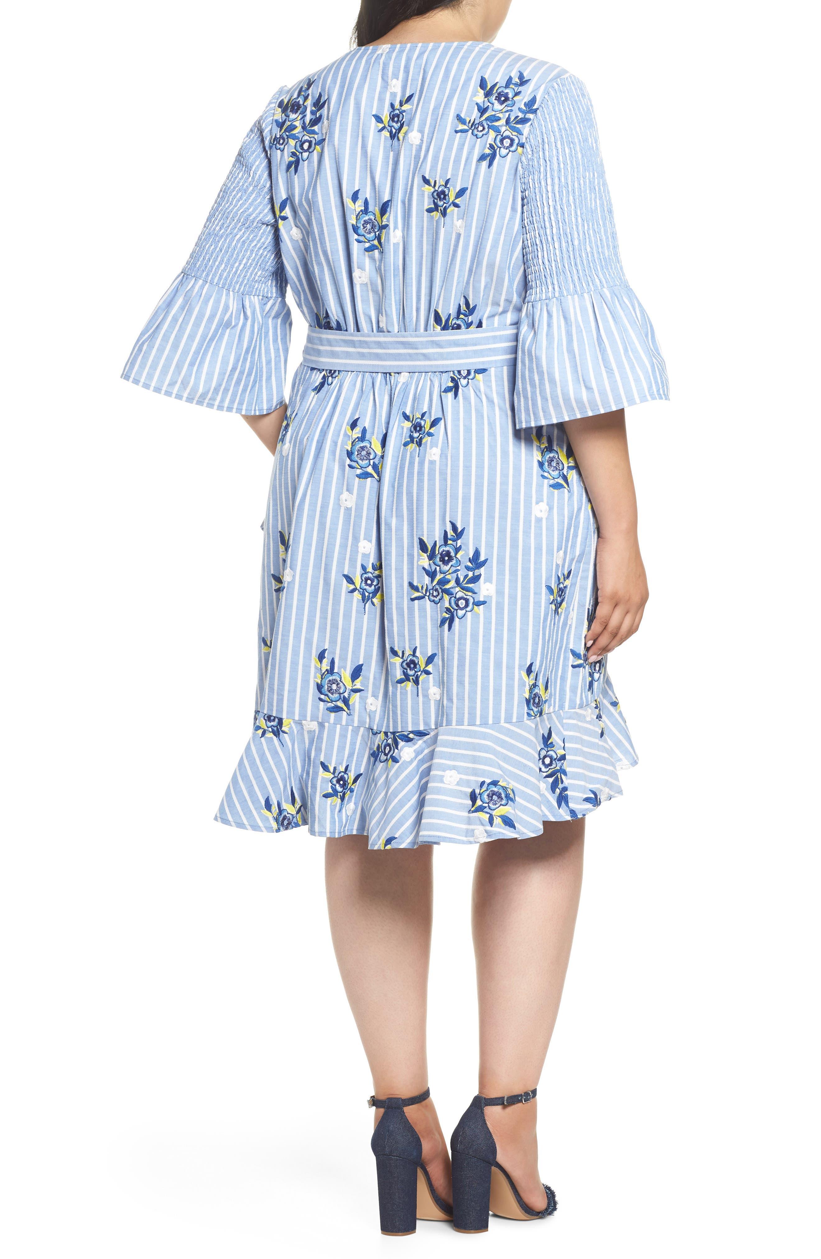 Embroidered Stripe Wrap Dress,                             Alternate thumbnail 2, color,                             Blue/ White