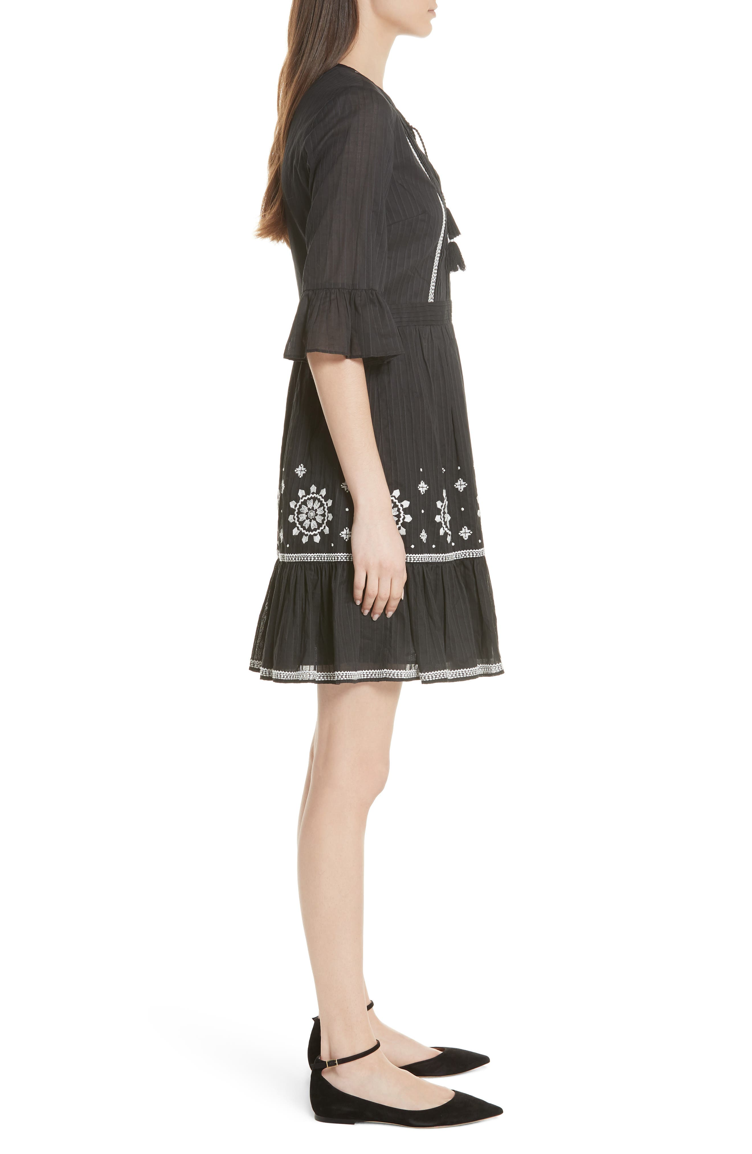 mosaic embroidered dress,                             Alternate thumbnail 3, color,                             Black