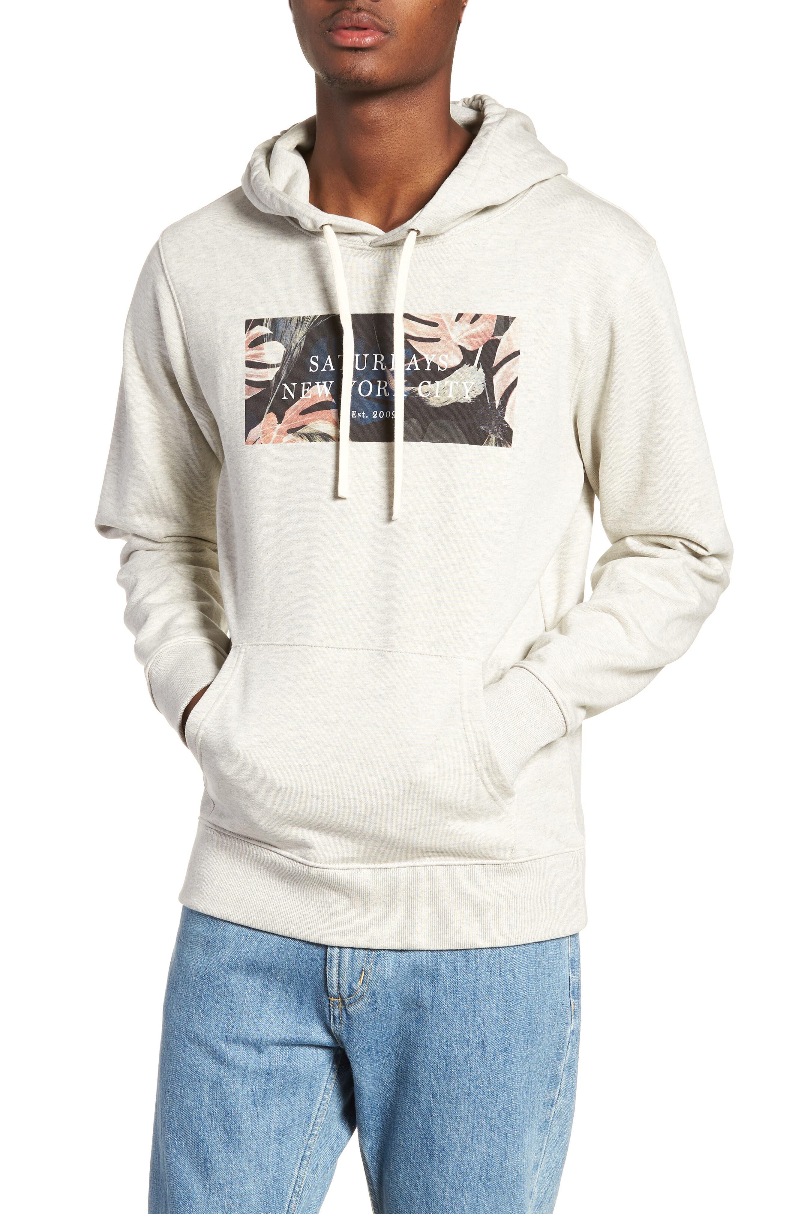 Ditch Monstera Block Hooded Sweatshirt,                             Main thumbnail 1, color,                             Natural Heater