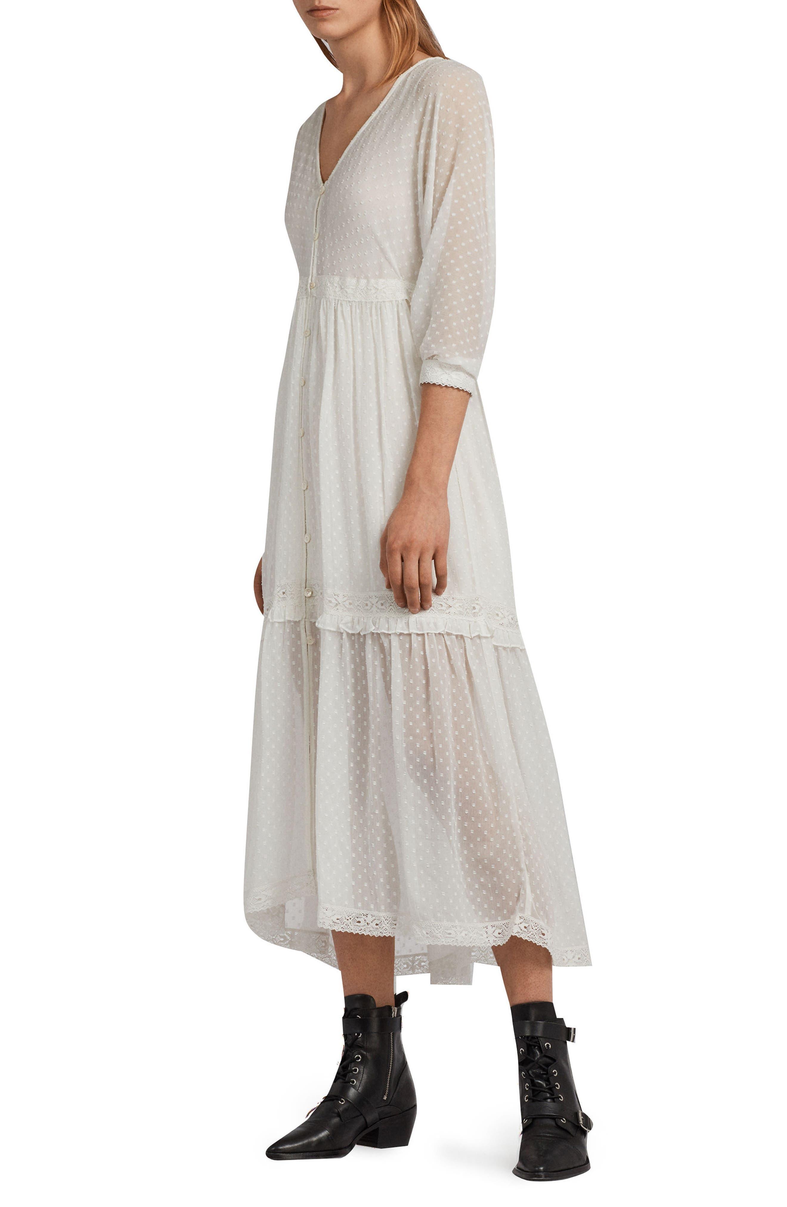 Palma Polka Dot Dress,                             Alternate thumbnail 3, color,                             Chalk White