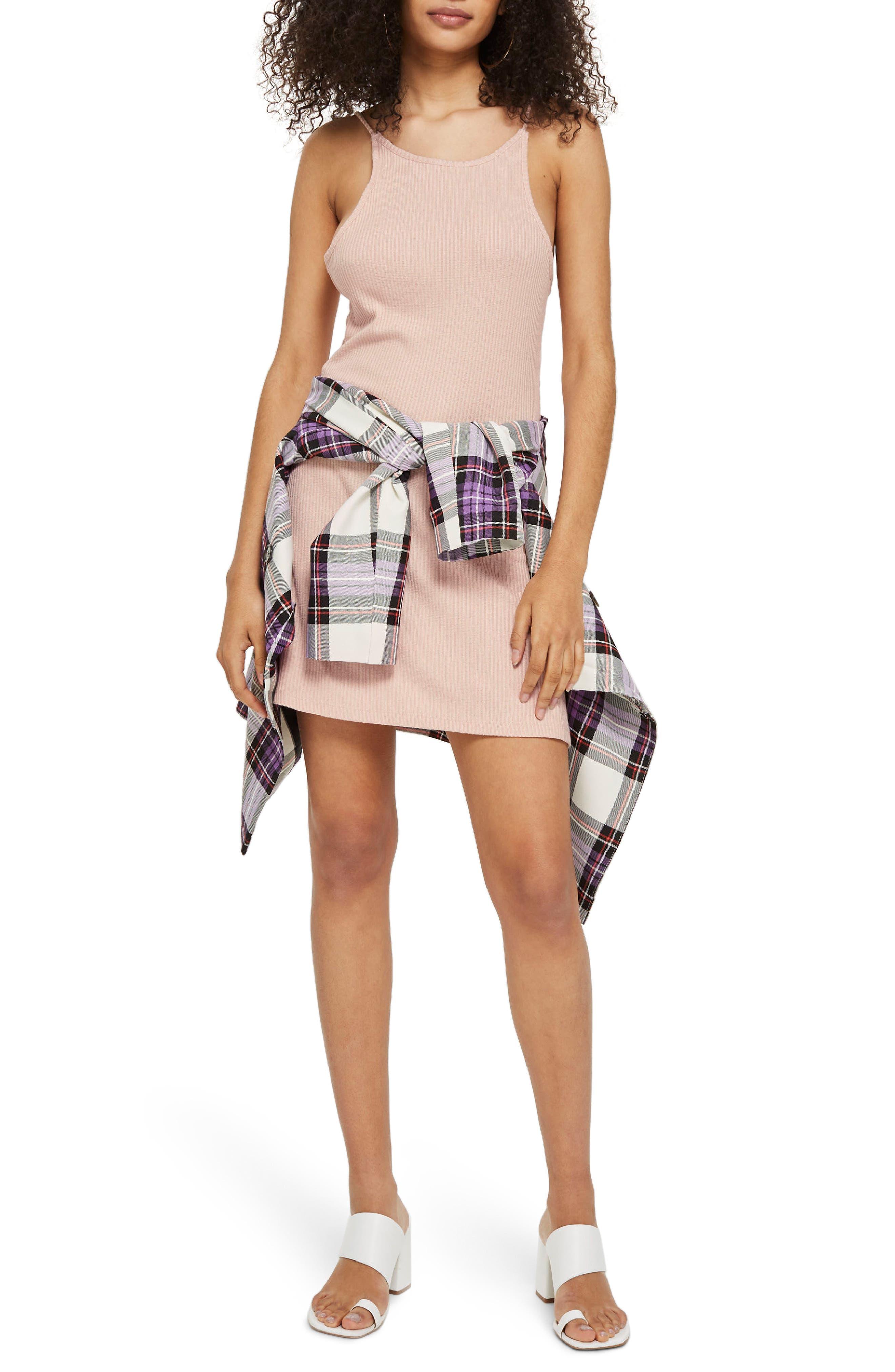 Rib Scoop Back Dress,                             Main thumbnail 1, color,                             Blush